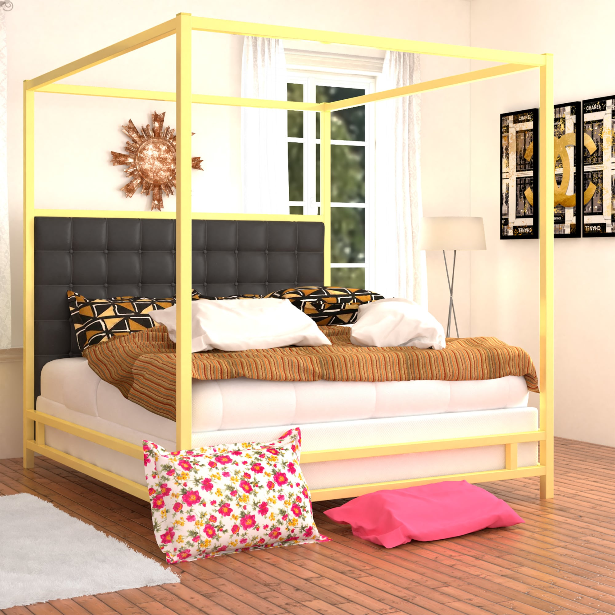 Solivita King-size Canopy Gold Metal Poster Bed by iNSPIRE Q Bold - Free  Shipping Today - Overstock.com - 17498601