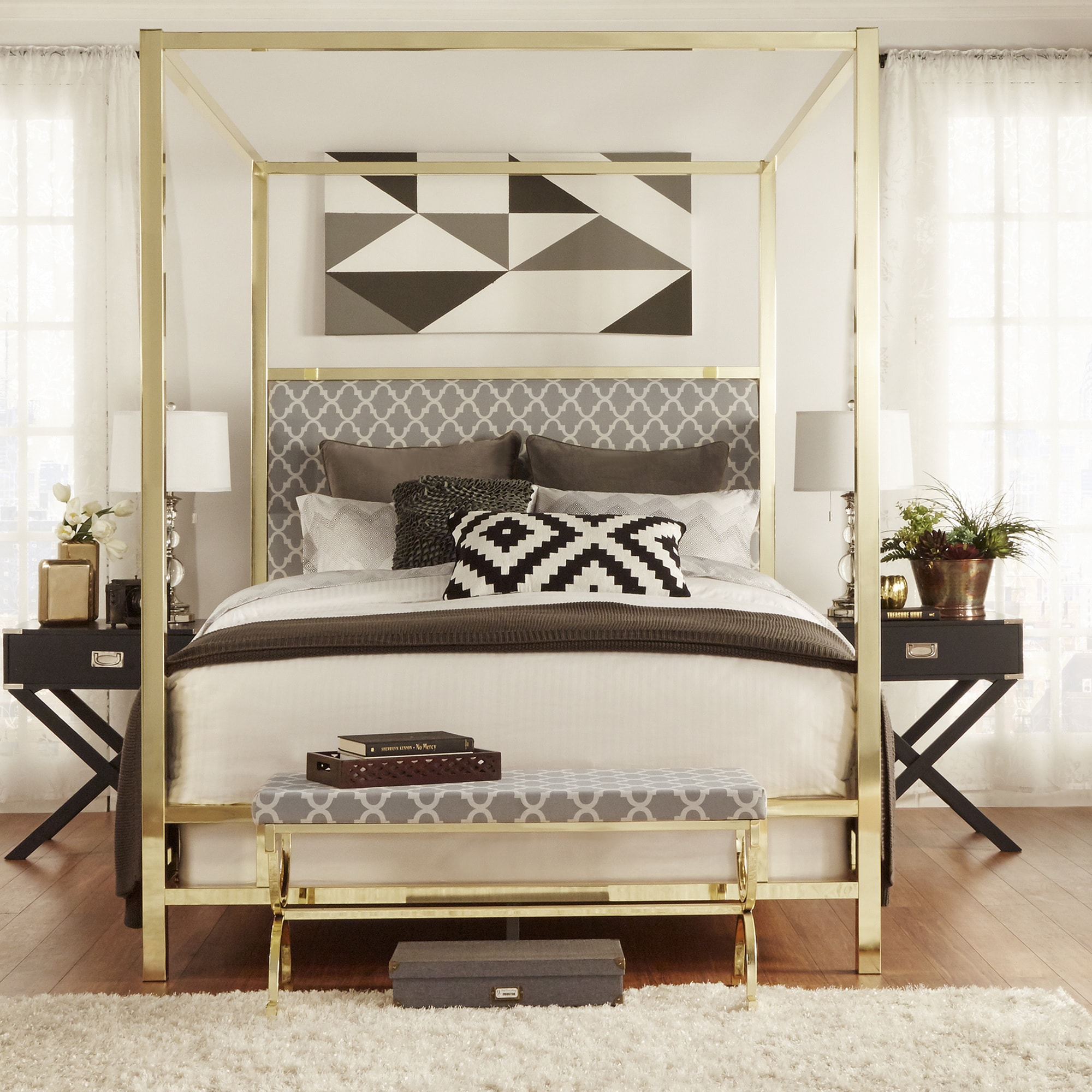 INSPIRE Q Solivita Queen Sized Canopy Gold Metal Poster Bed   Free Shipping  Today   Overstock.com   17498593