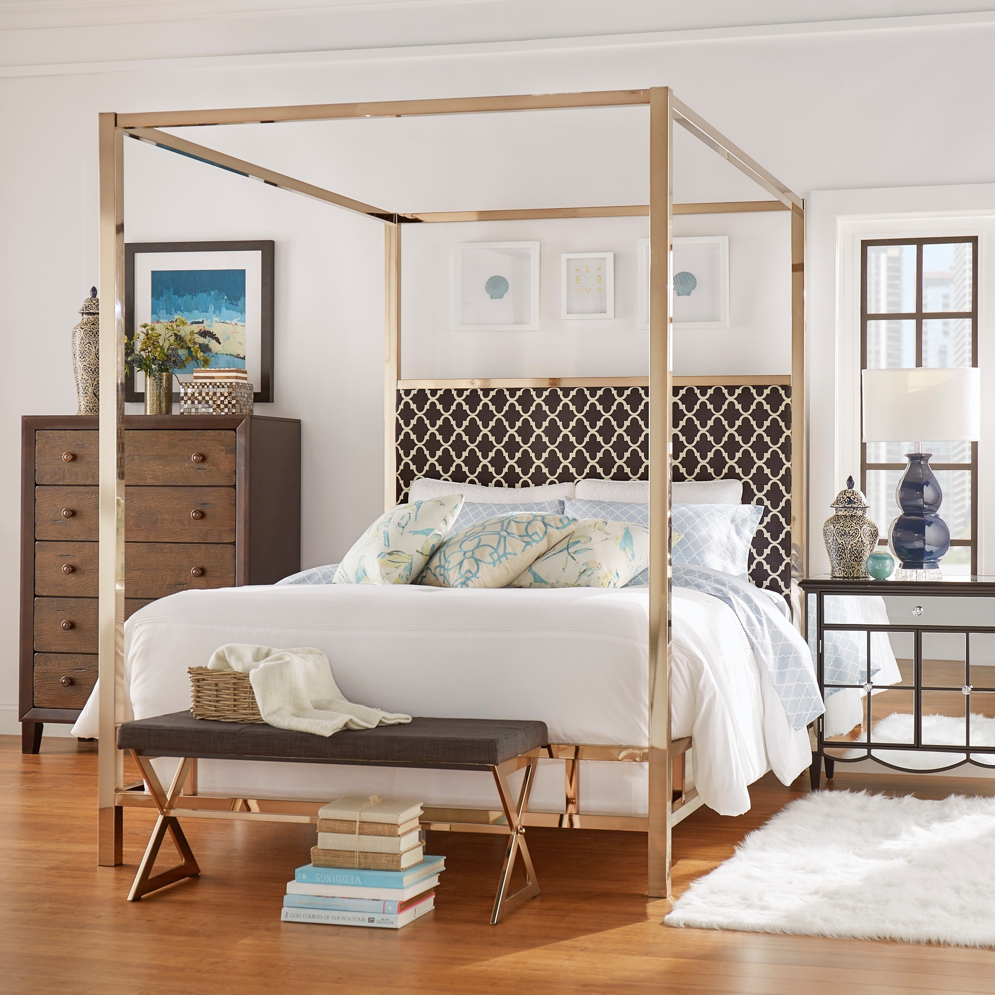 Solivita Champagne Gold Queen size Metal Canopy Bed by iNSPIRE Q