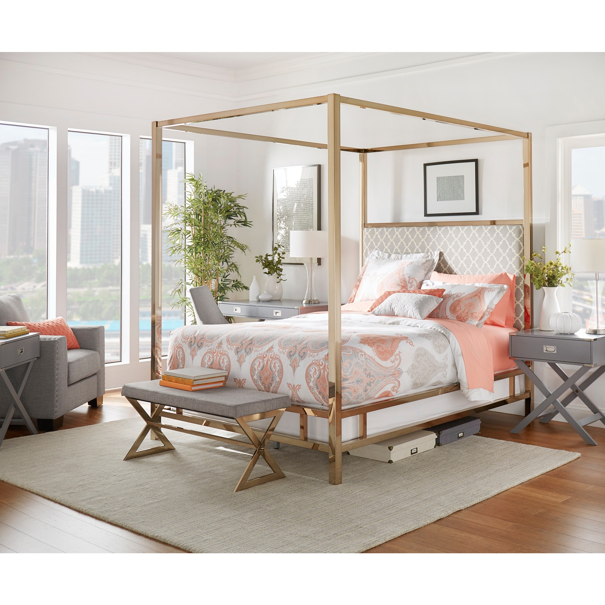 Solivita King-size Canopy Champagne Gold Metal Poster Bed by iNSPIRE Q Bold  - Free Shipping Today - Overstock.com - 17498598