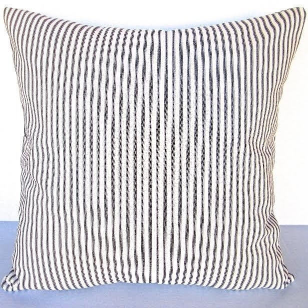 Shop Artisan Pillows Indoor 40inch French Ticking Stripe In Black Cool French Pillows Home Decor