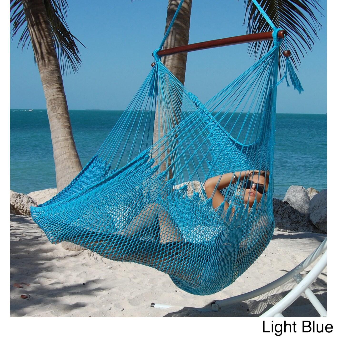 hanging l tan hammocks com garden chair hammock large dp outdoor polyester amazon caribbean