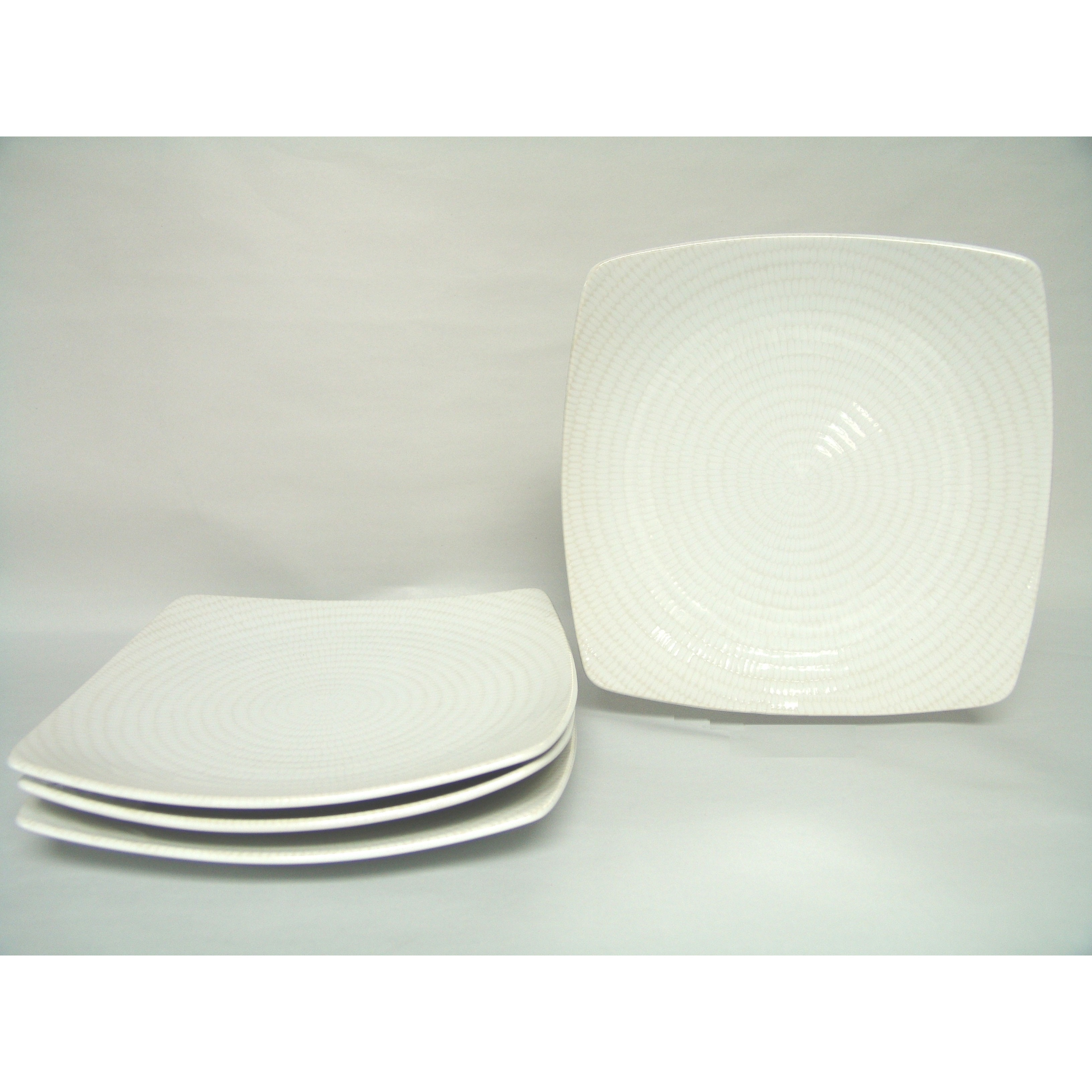 White Rice 10-inch Square Dinner Plate (Set of 4) - Free Shipping Today - Overstock - 17500677  sc 1 st  Overstock.com & White Rice 10-inch Square Dinner Plate (Set of 4) - Free Shipping ...