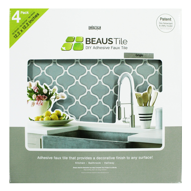 Shop BeausTile Grigio 4-piece Decorative 12.2x12.2-inch Adhesive ...