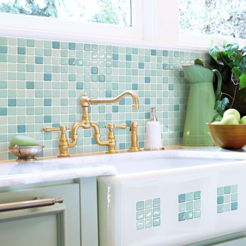 Shop BeausTile Mint Moroccan 4-piece Decorative Adhesive Faux Tile ...