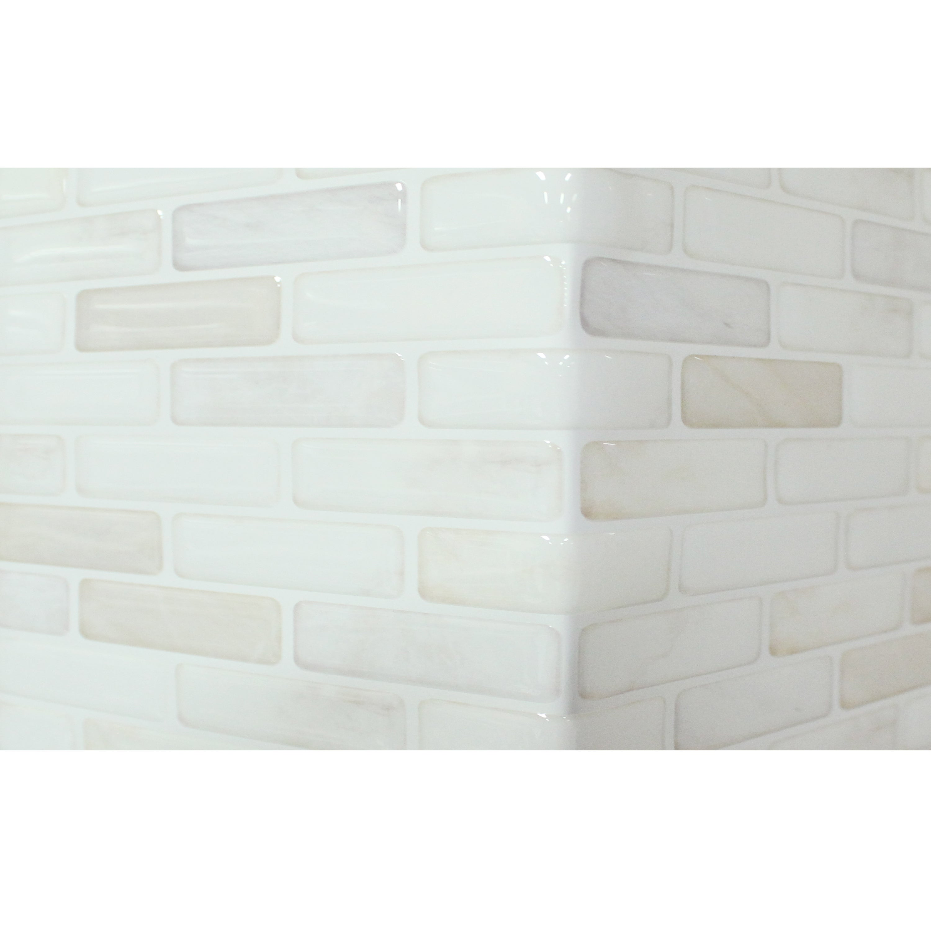 Beaustile brick white 4 piece decorative adhesive faux tile sheets beaustile brick white 4 piece decorative adhesive faux tile sheets 54in x 148in free shipping on orders over 45 overstock 17500714 dailygadgetfo Gallery