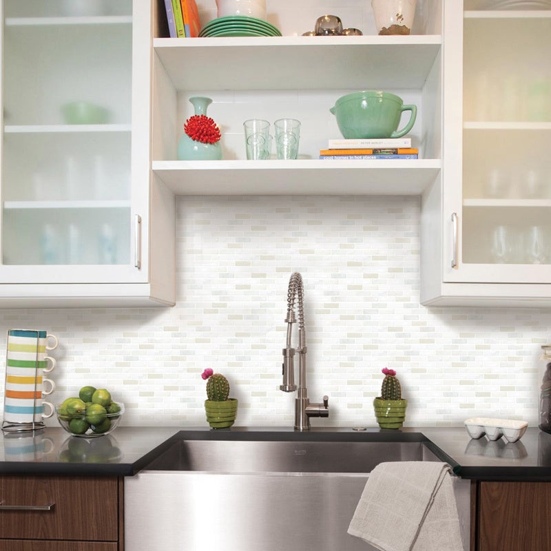 Shop BeausTile Brick White 4 Piece Decorative Adhesive Faux Tile Sheets  (5.4in X 14.8in)   Free Shipping On Orders Over $45   Overstock.com    10398206