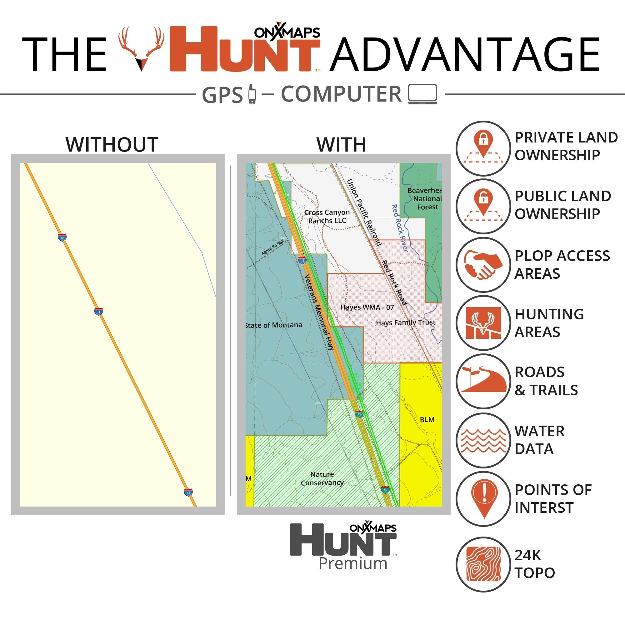 onX Hunt Arkansas: Public/ Private Land Ownership 24k Topo Maps for Garmin  GPS Units for Smartphone and Computer