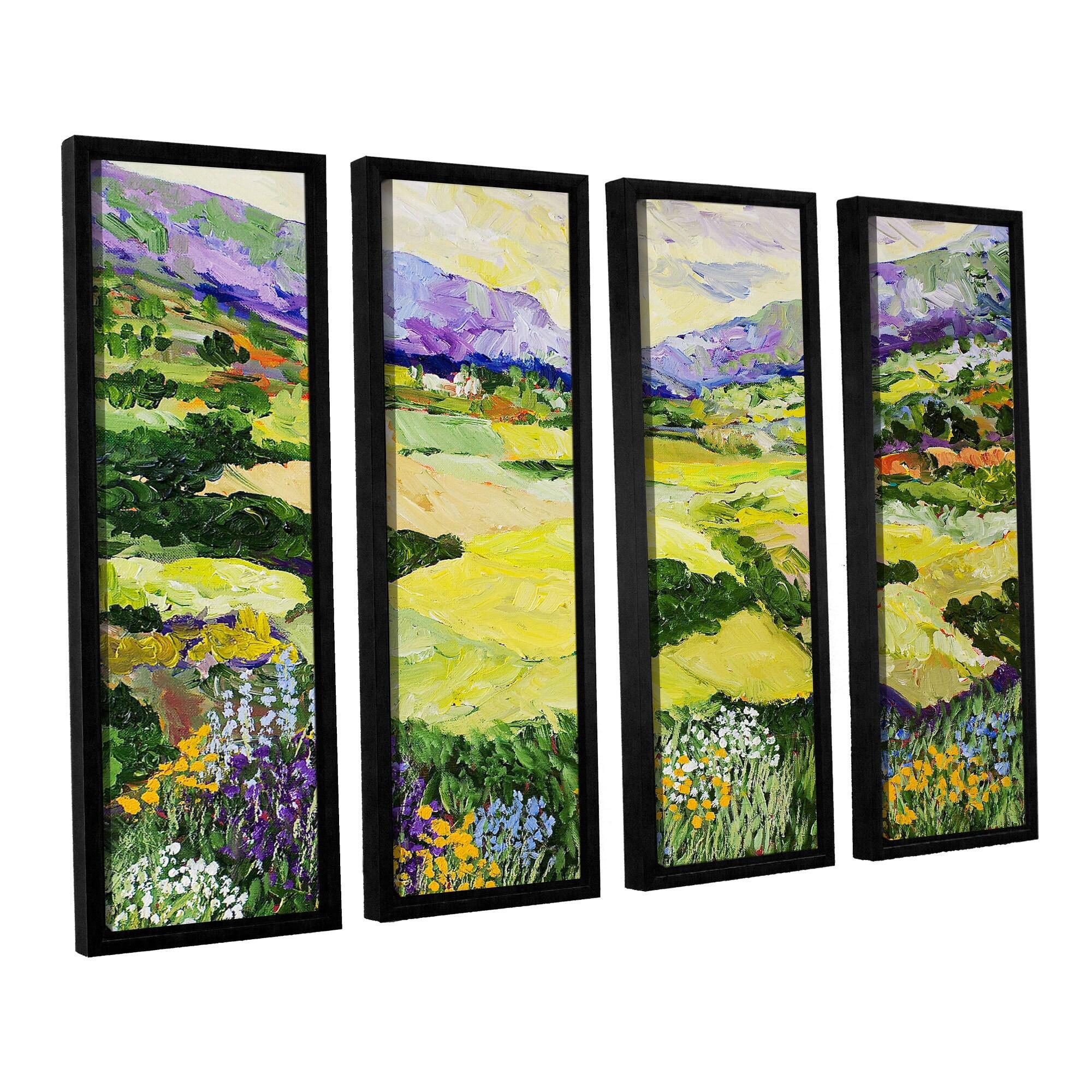 ArtWall Allan Friedlander \'Cool Grass\' 4 Piece Floater Framed Canvas ...