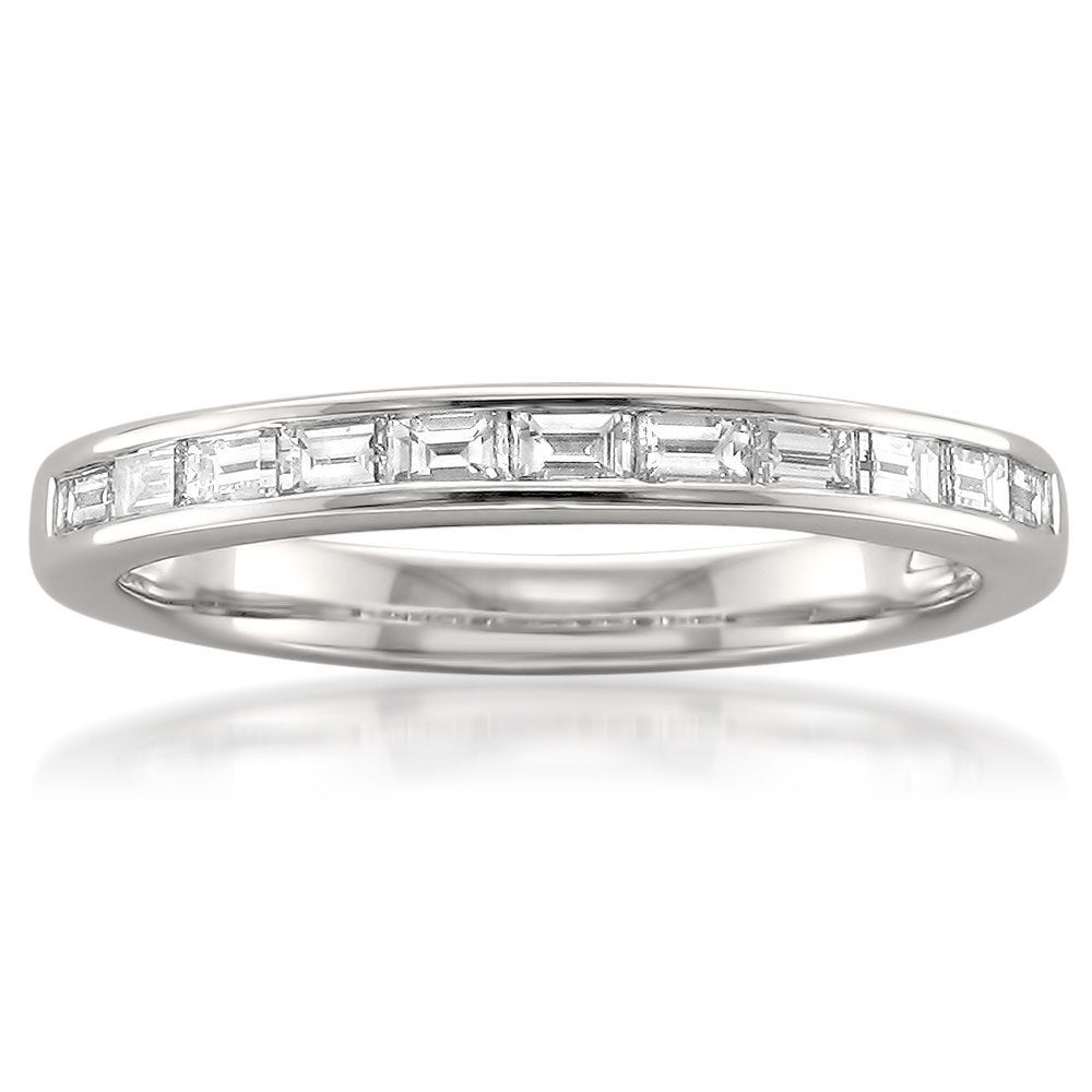 Montebello Platinum 1/2ct TDW Baguette-cut White Diamond Channel-set ...