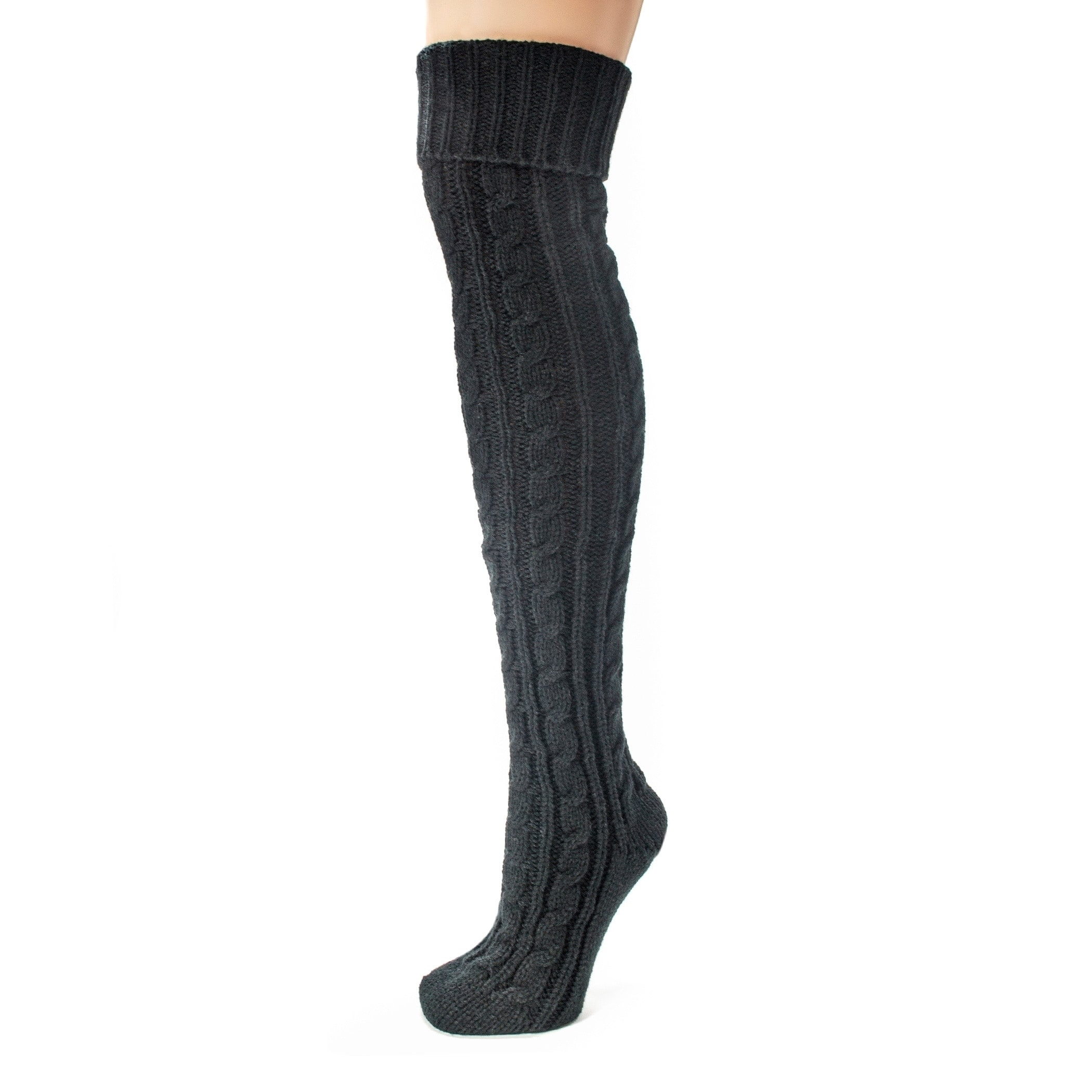 Shop Muk Luks Women\'s Black Cable Knit Over the Knee Socks - Free ...