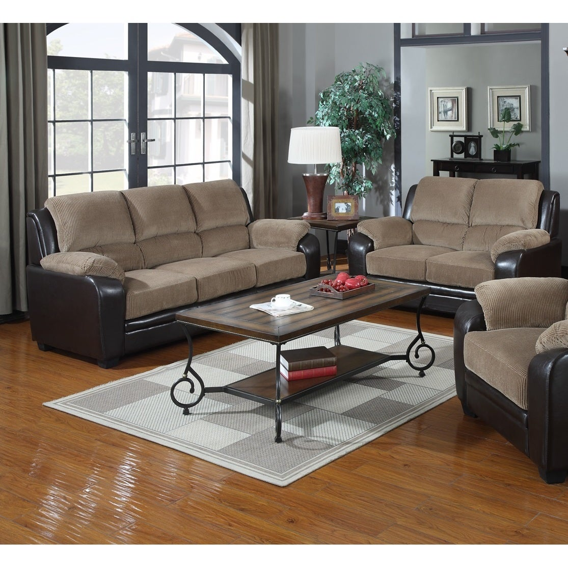 Jagger 2 Piece Corduroy Fabric With Pu Leather Sofa Loveseat Set On Free Shipping Today 10401456