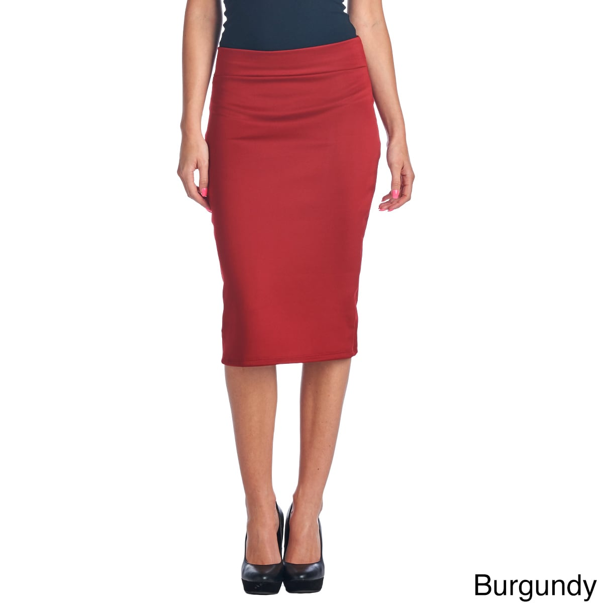 a196b681999 Shop Mid Length High Waist Women's Scuba Solid Pencil Skirt - Free Shipping  On Orders Over $45 - Overstock - 10404415