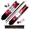 Royal Flush 2 Piece Billiard Cue Stick with Case, Red