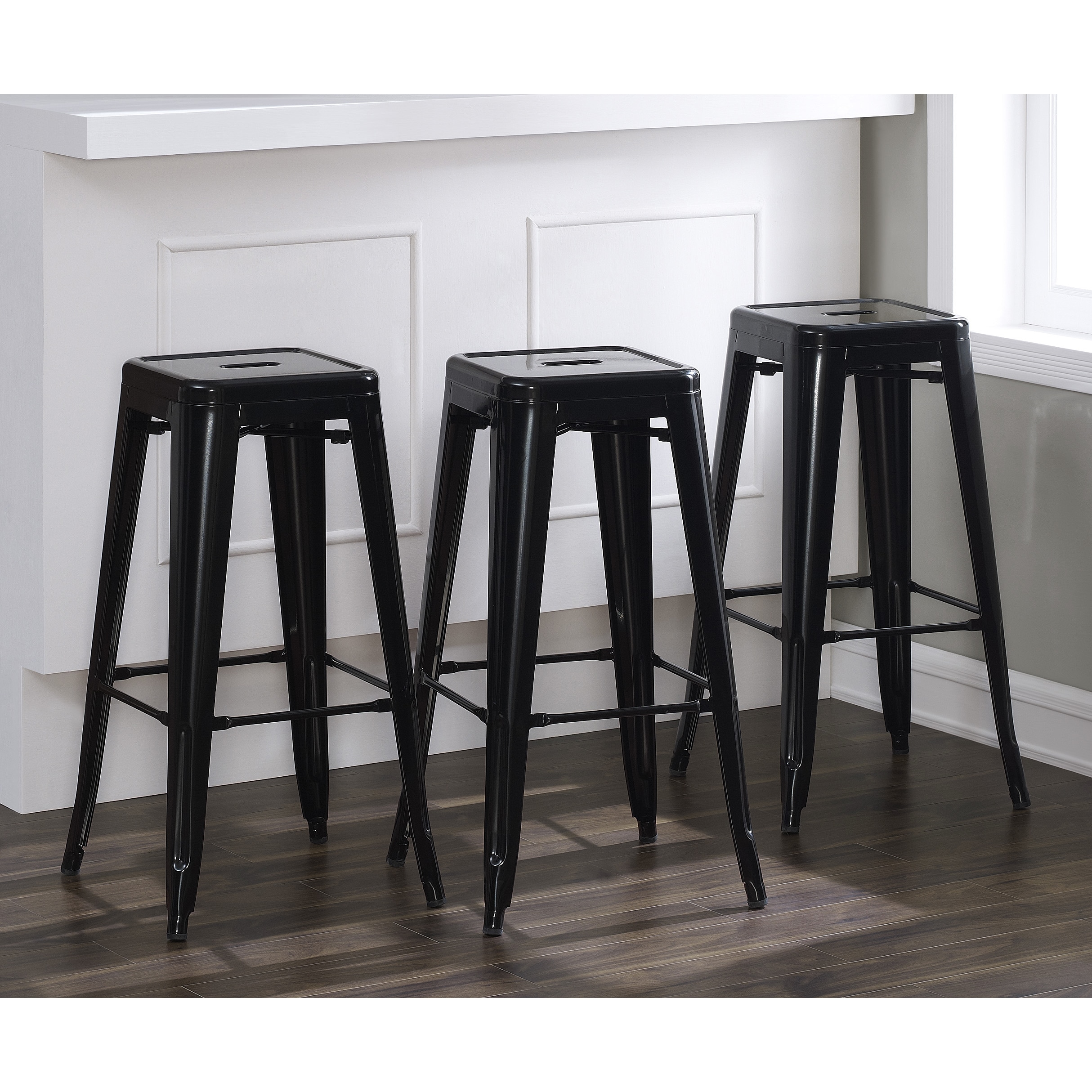 Shop Tabouret 30 Inch Metal Black Bar Stool Set Of 3 Free