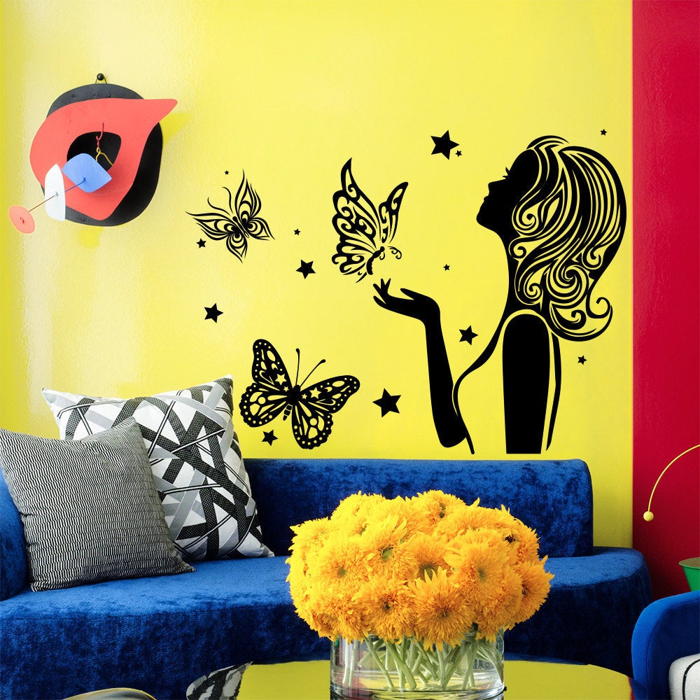 Girl and Butterflies Hair salon decor Vinyl Sticker Wall Art - Free ...