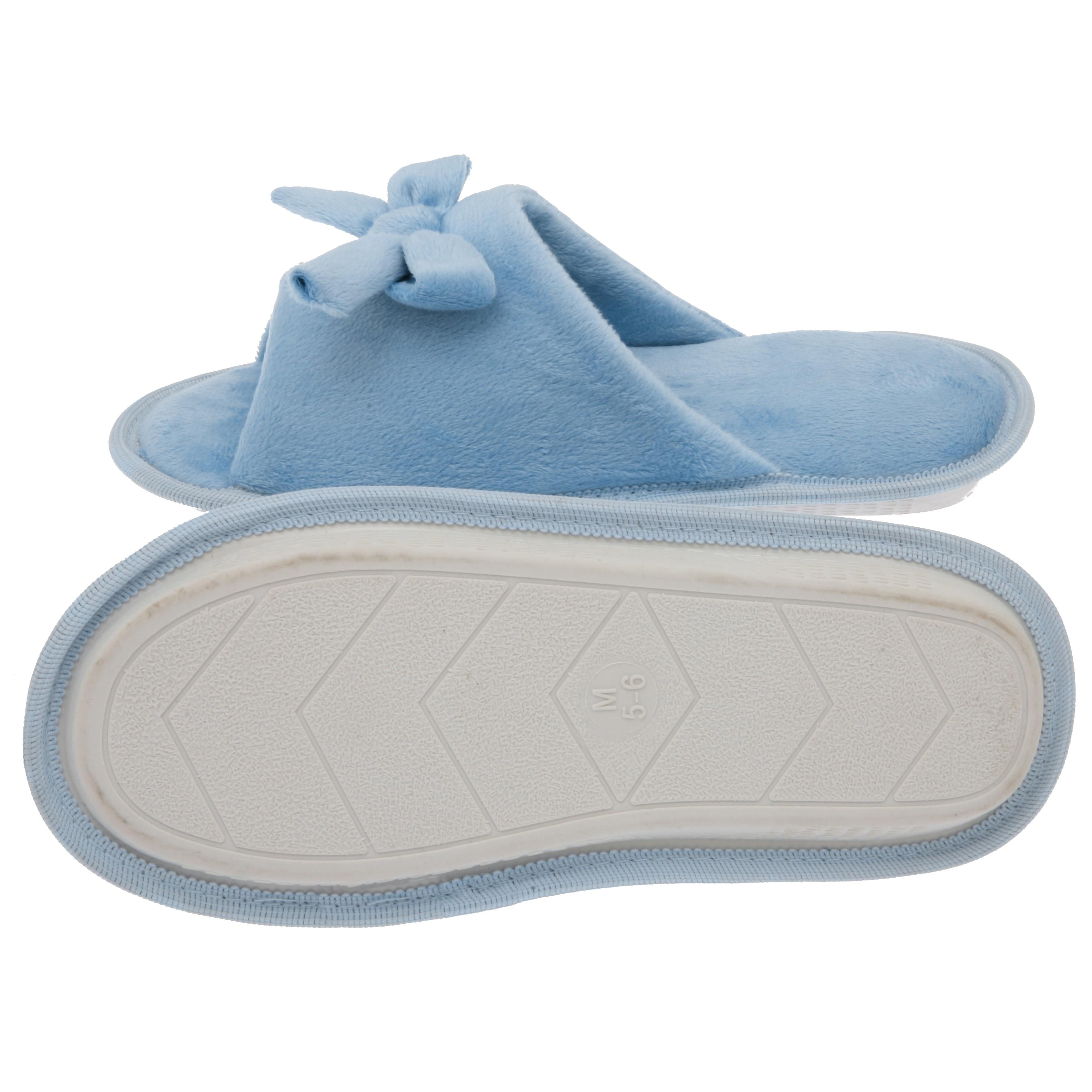 4dddea7b28f Shop Women s Butterfly Bow Slip-On Memory Foam House Slippers - Open Toe -  Fleece Memory Foam - Non-Marking Rubber Sole - Baby Blue - Free Shipping On  ...