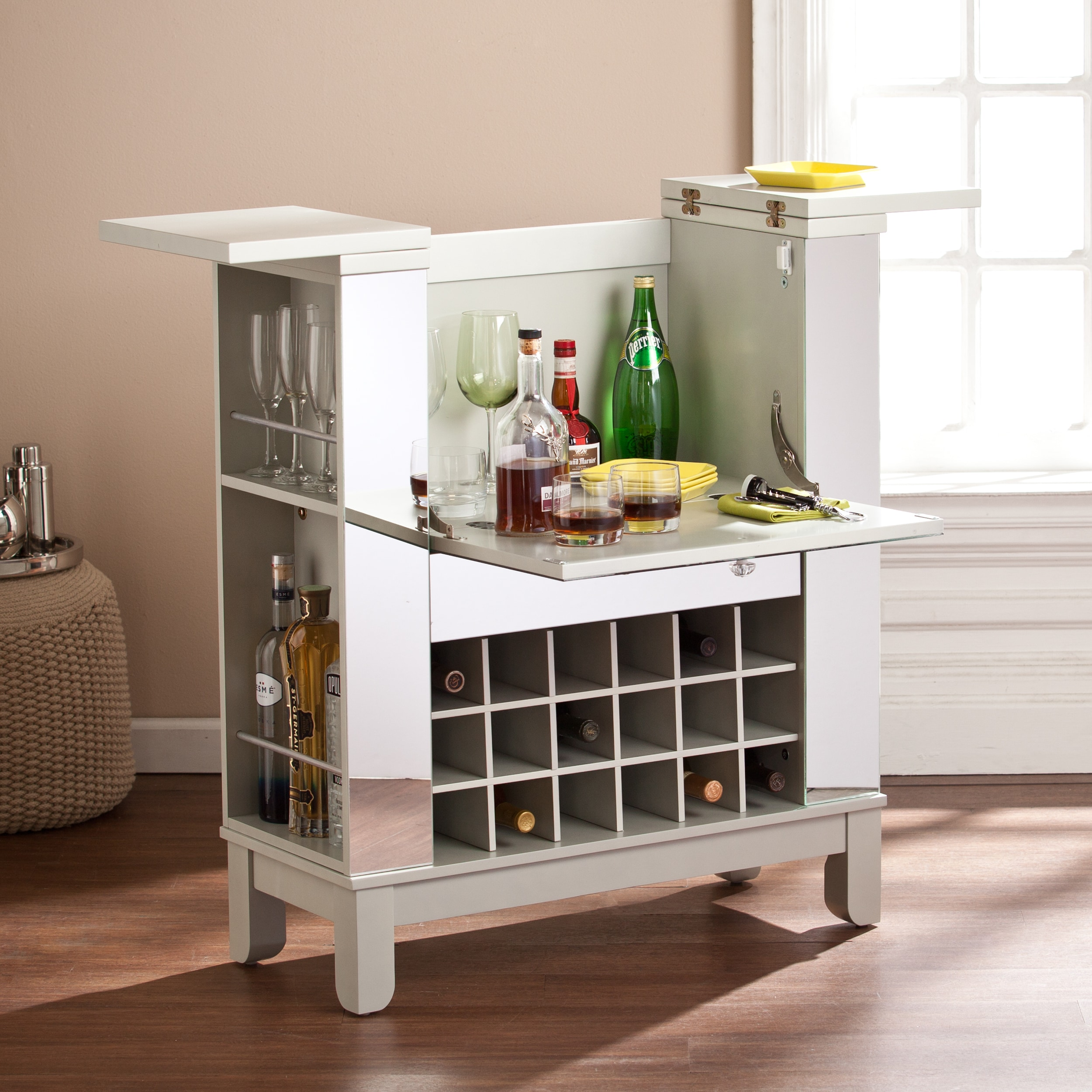 Shop Silver Orchid Rosing Mirrored Fold Out Wine Bar Cabinet On