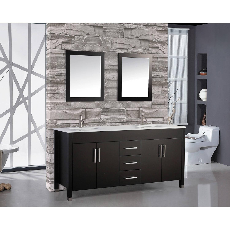 Shop mtd vanities monaco 72 inch double sink bathroom vanity set with mirror and faucet free shipping today overstock com 10410723