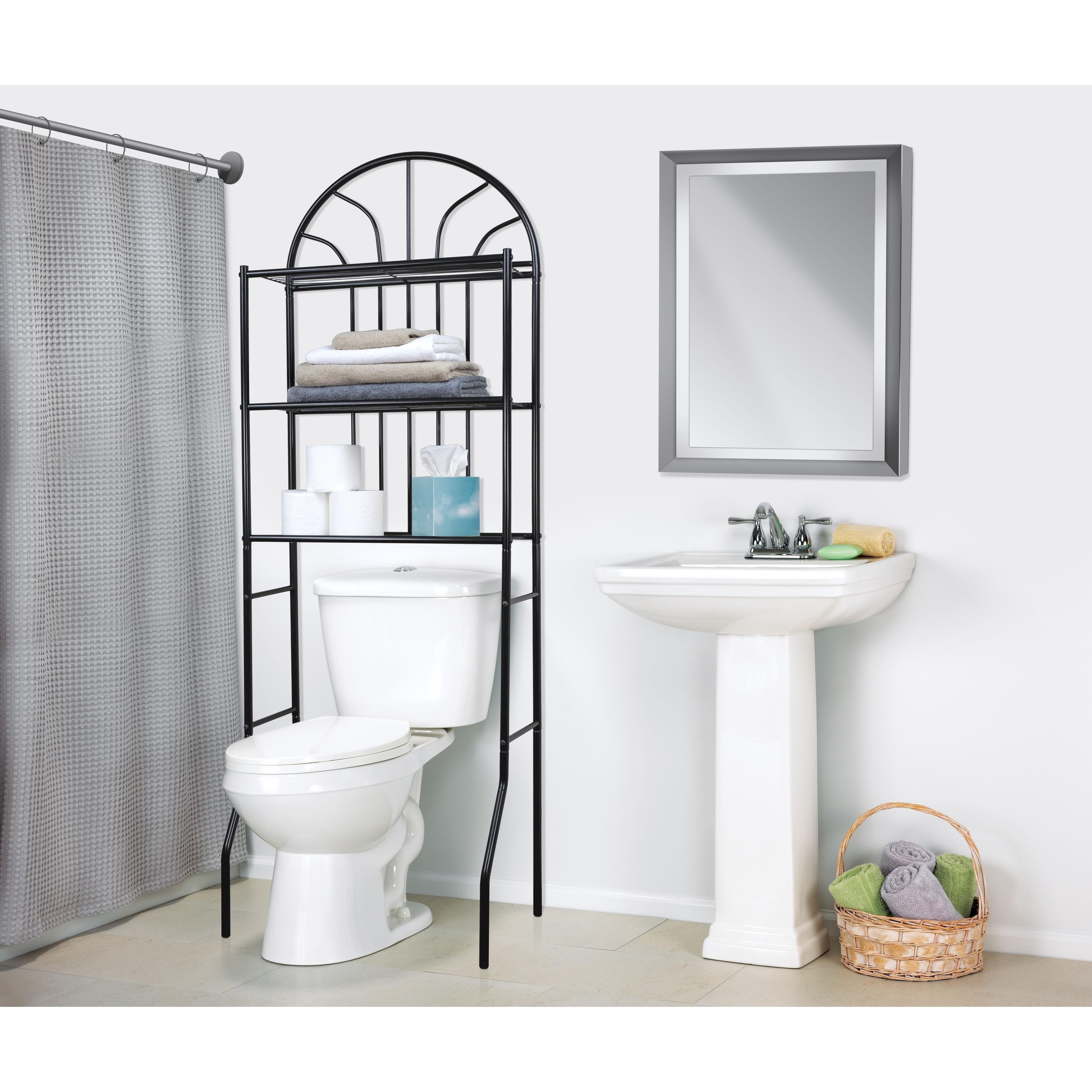 Shop Home Basics Black Steel 2-shelf Bathroom Space Saver - Free Shipping Today - Overstock.com - 10411332