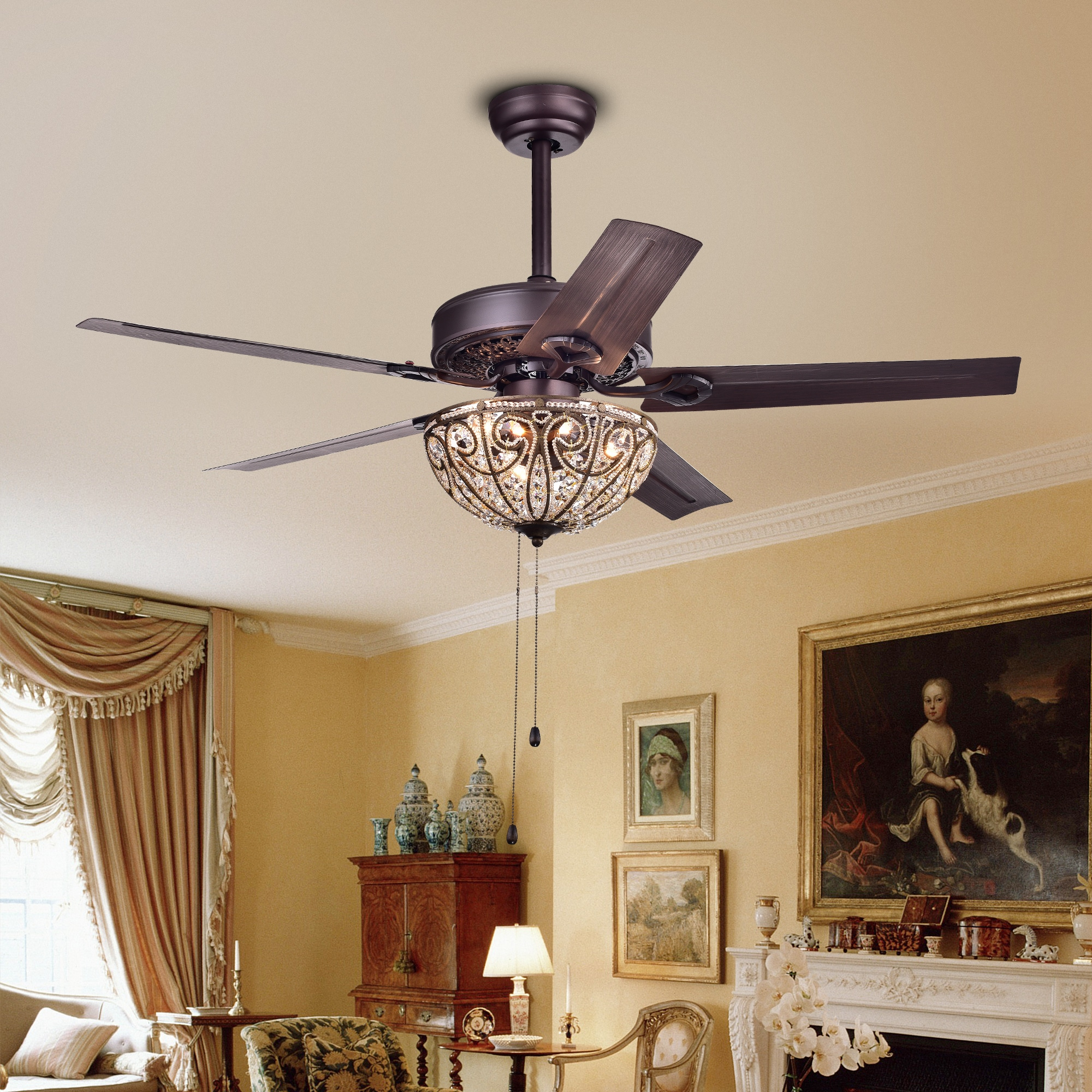Shop catalina bronze finished 5 blade 48 inch crystal ceiling fan catalina bronze finished 5 blade 48 inch crystal ceiling fan optional aloadofball Images