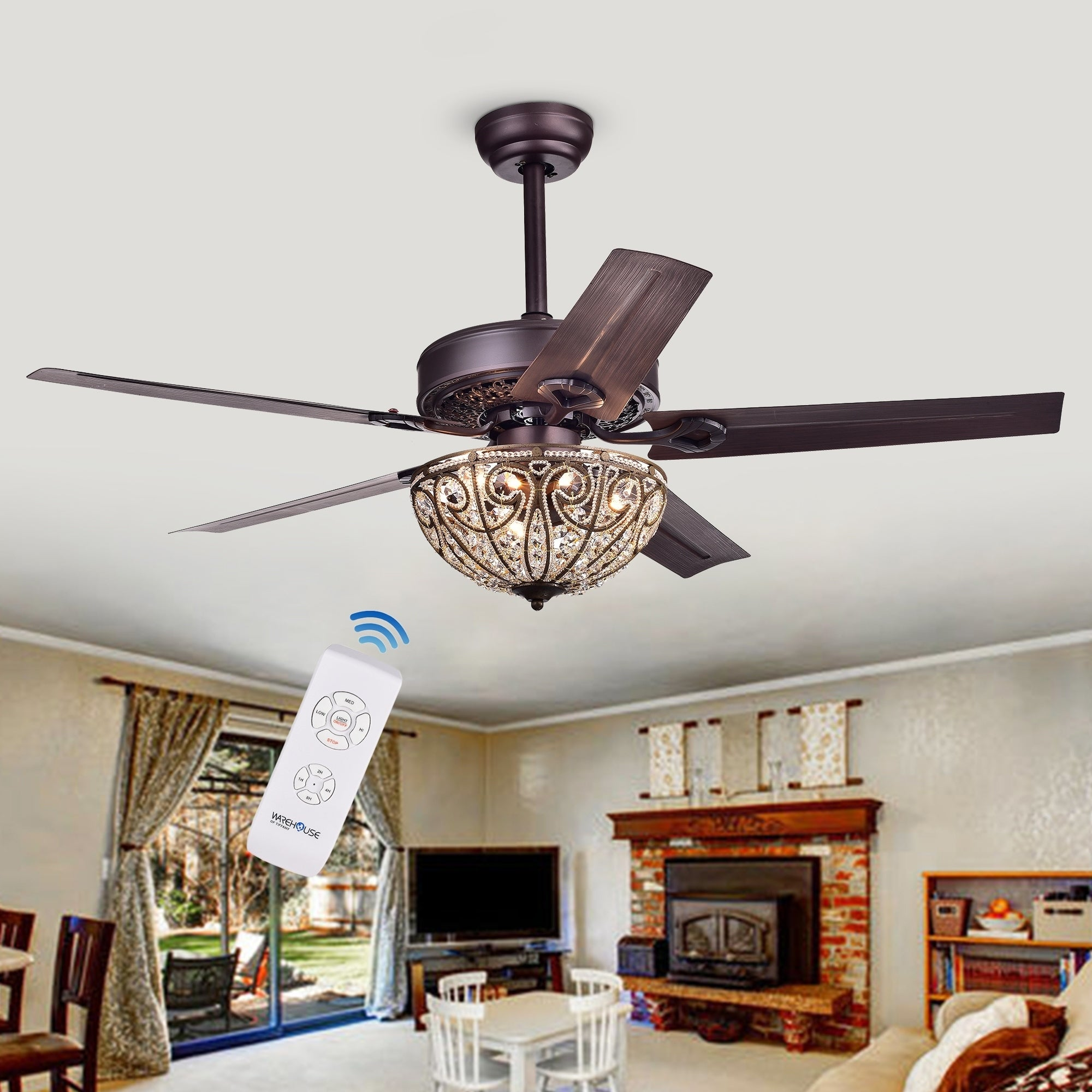 Shop Catalina Bronze Finished 5 Blade, 48 Inch Crystal Ceiling Fan  (Optional Remote)   Free Shipping Today   Overstock.com   10412248