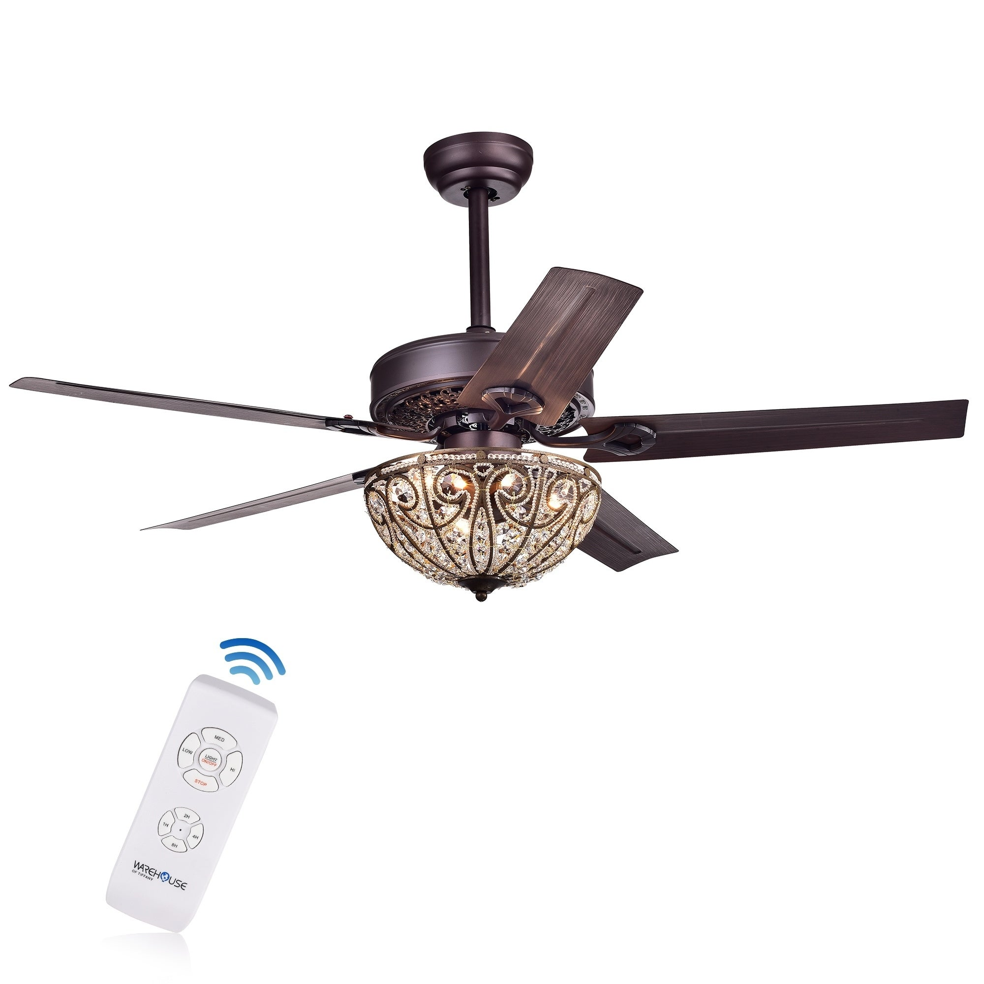 decorative ceiling fans with remote remote control shop catalina bronzefinished 5blade 48inch crystal ceiling fan optional remote on sale free shipping today overstockcom 10412248