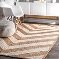 nuLOOM Alexa Eco Natural Fiber Braided Reversible Chevron Jute Rug (8' x 10')