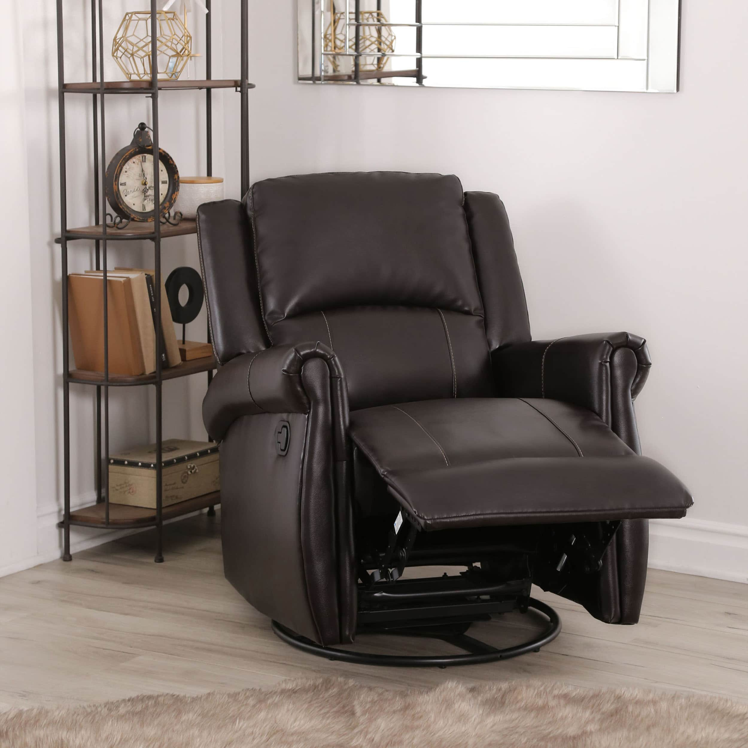 Shop abbyson elena dark brown swivel glider recliner chair on sale free shipping today overstock com 10416553