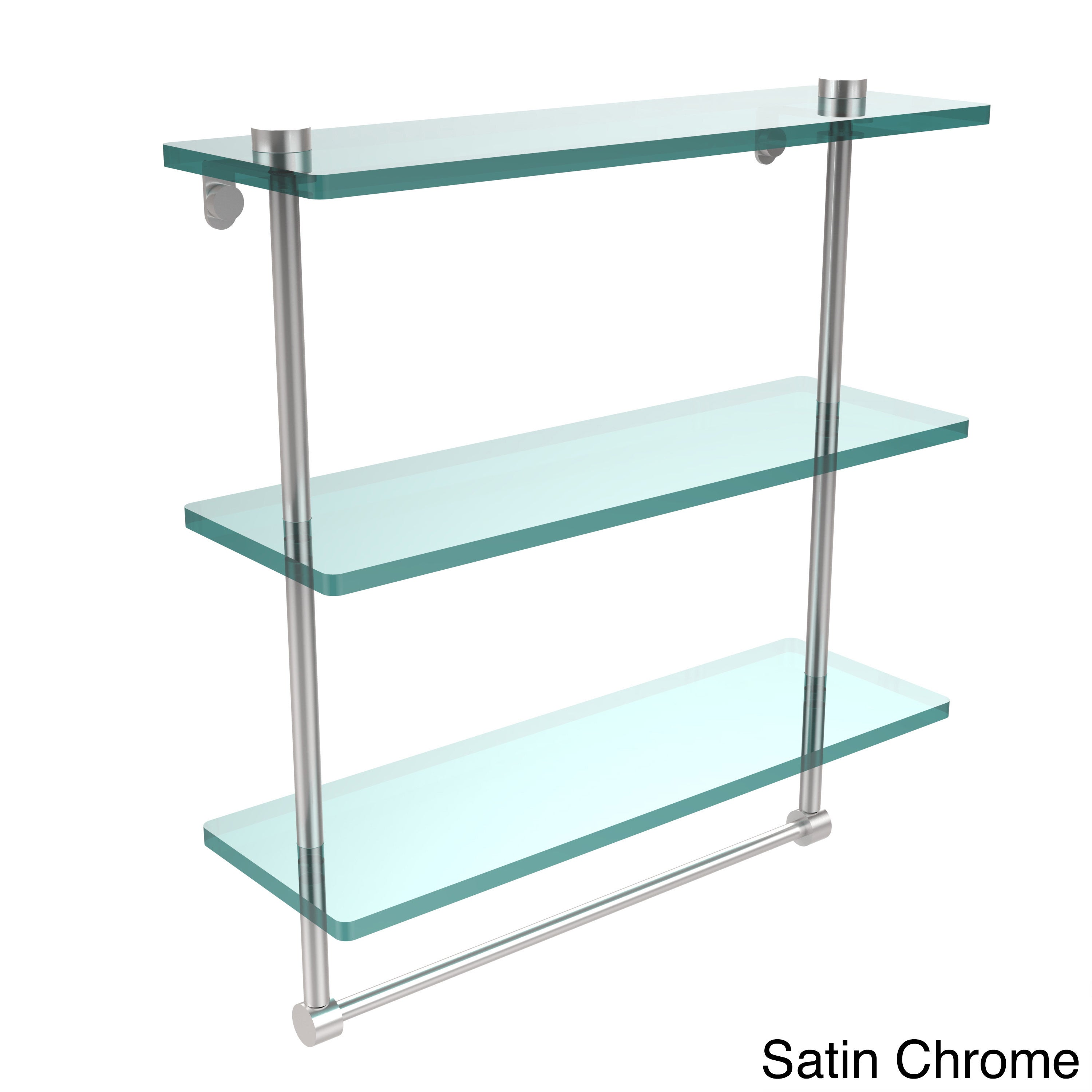 Allied Brass 16-inch Triple Tiered Glass Shelf with Integrated Towel ...