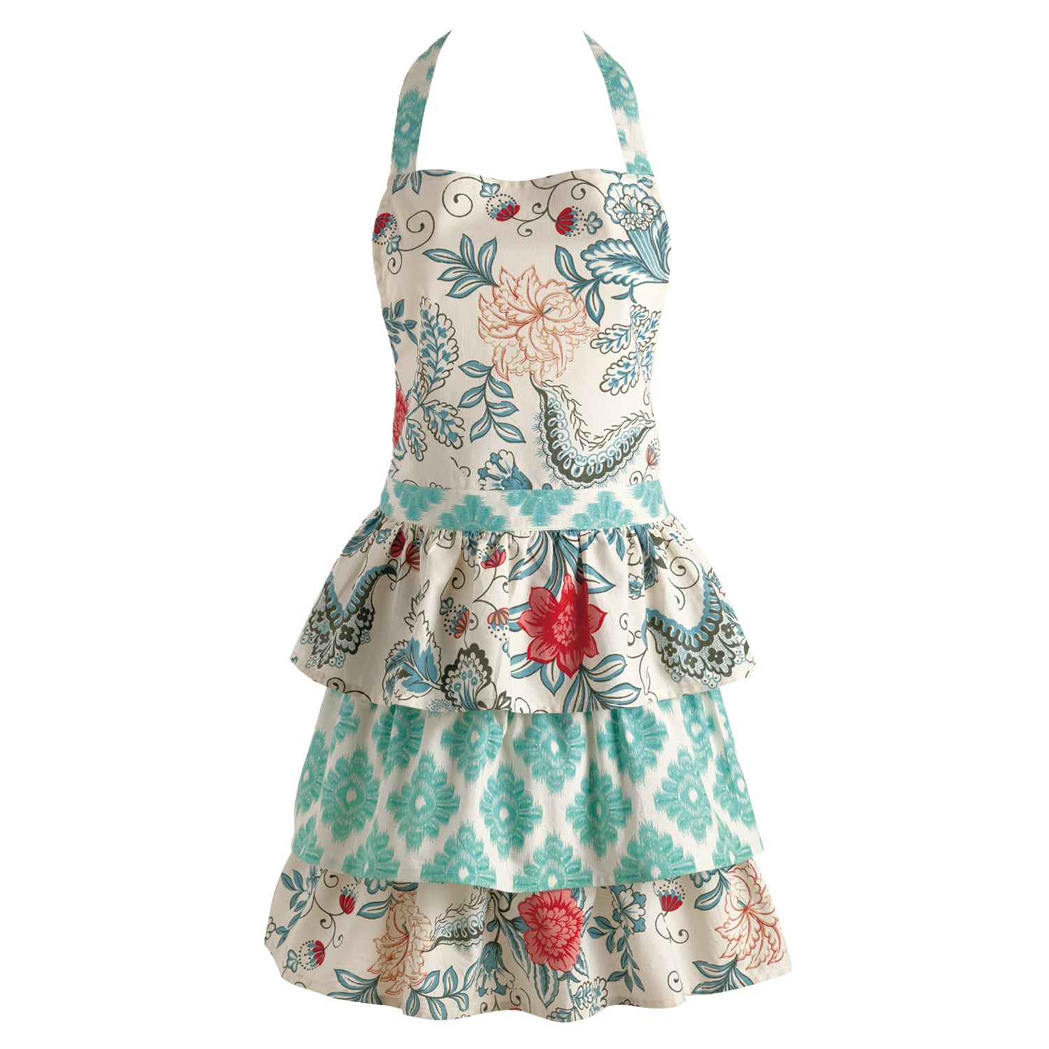 Shop Blue Ikat Flowers Vintage Apron - Free Shipping On Orders Over $45 -  Overstock - 10417263
