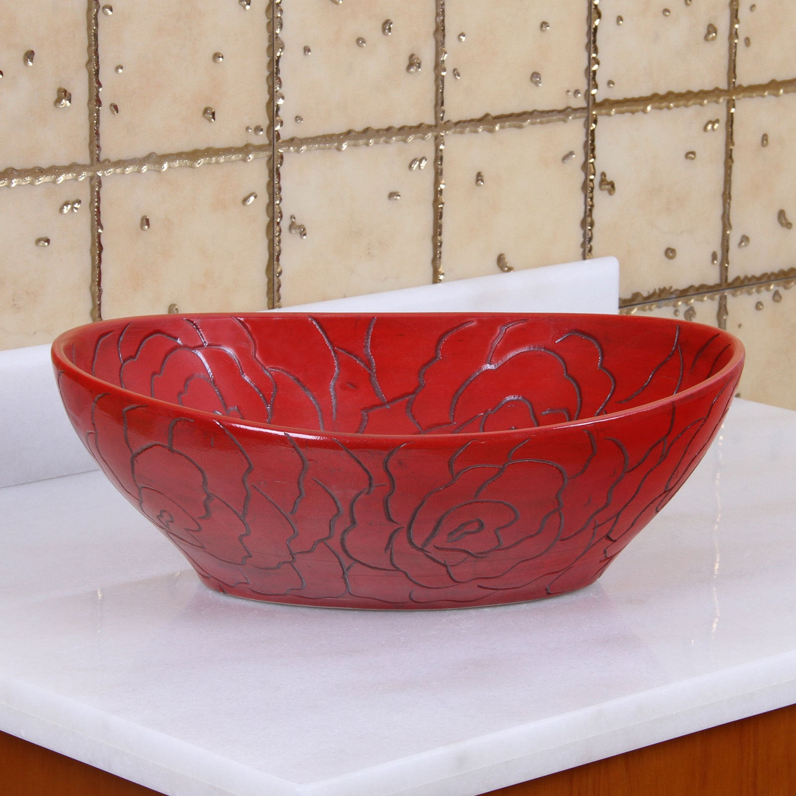 Shop Elite 1557 Oval Red Rose Porcelain Ceramic Bathroom Vessel Sink   Free  Shipping Today   Overstock.com   10421997