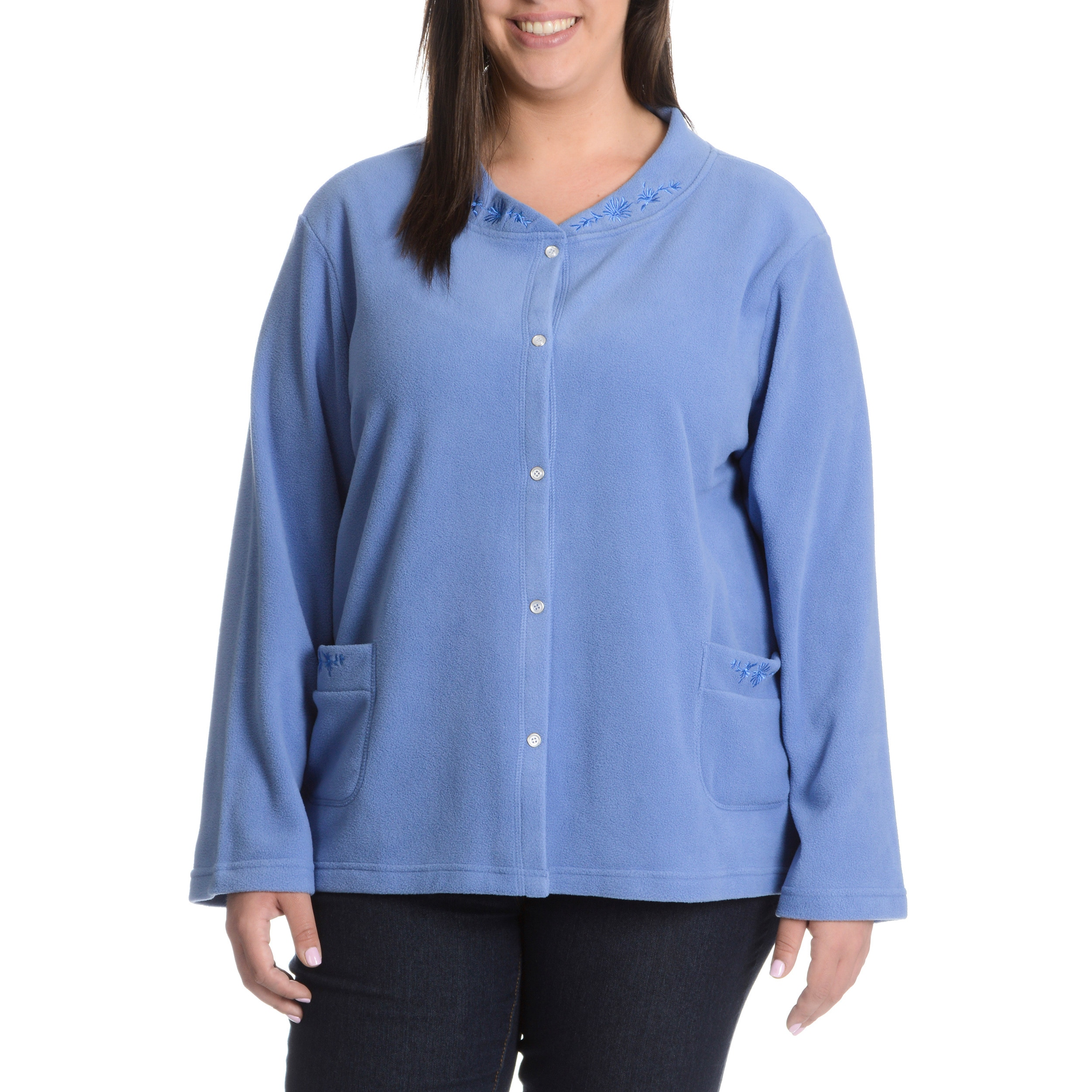 80960f8b094 Shop La Cera Women s Plus Size Snap Front Jacket with Embroidery Detail -  Free Shipping On Orders Over  45 - Overstock - 10422105