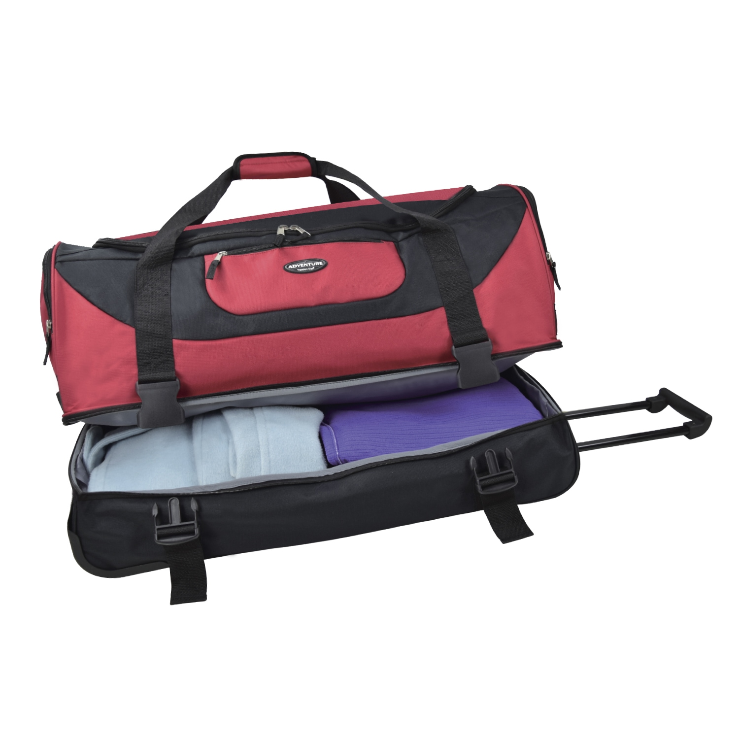 ac8681da7a Shop Traveler s Club Adventure 30-inch 2-Section Drop-Bottom Rolling Duffel  Bag - Free Shipping On Orders Over  45 - Overstock - 10422288