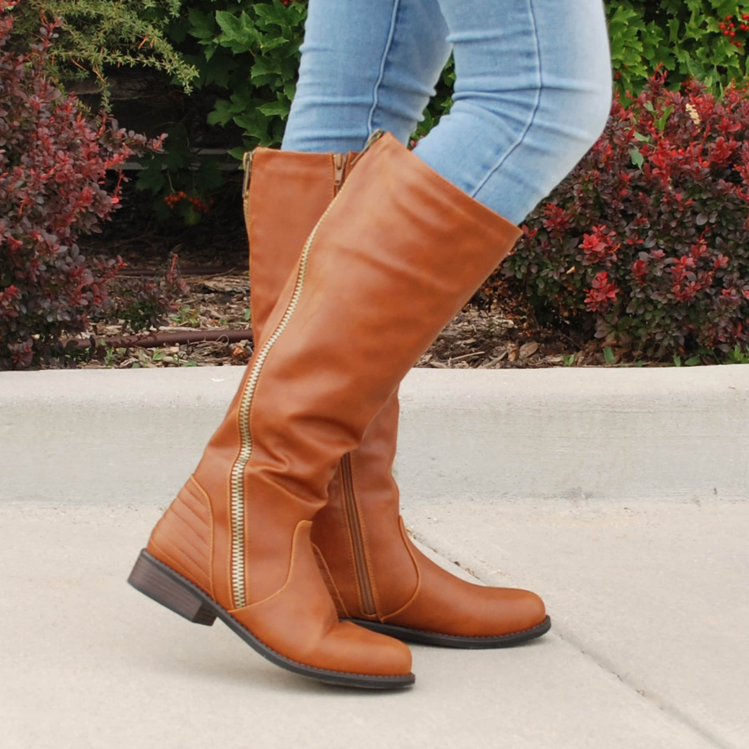 6a0037766d56 Shop Journee Collection Women s  Slant  Regular and Wide-calf Faux Leather  Boots - Free Shipping On Orders Over  45 - Overstock - 10422697