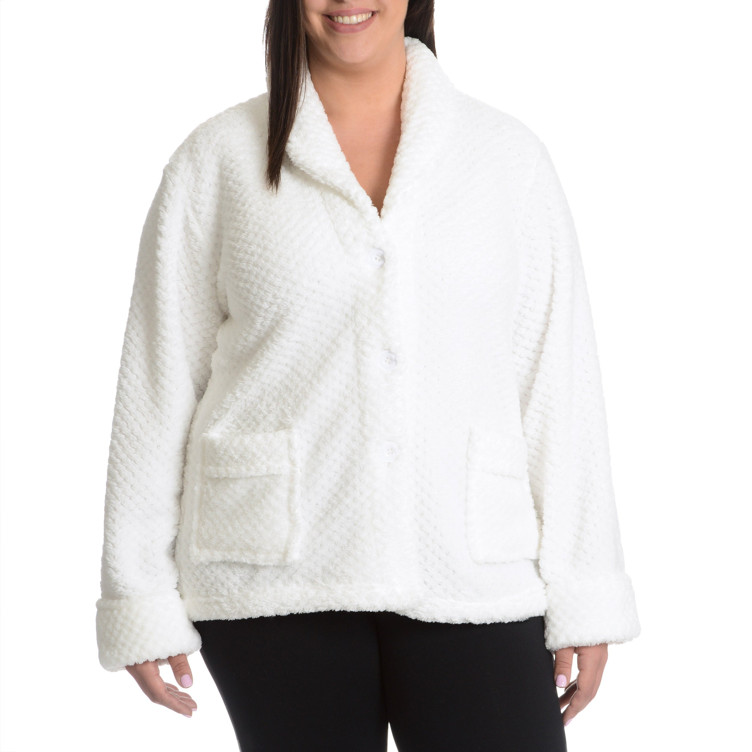 c5775800d71 Shop La Cera Women s Plus Size Textured Plush Button Front Sleep Shirt -  Free Shipping Today - Overstock - 10422936