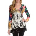 La Cera Women's Multi Floral Print Surplice Faux Wrap Top