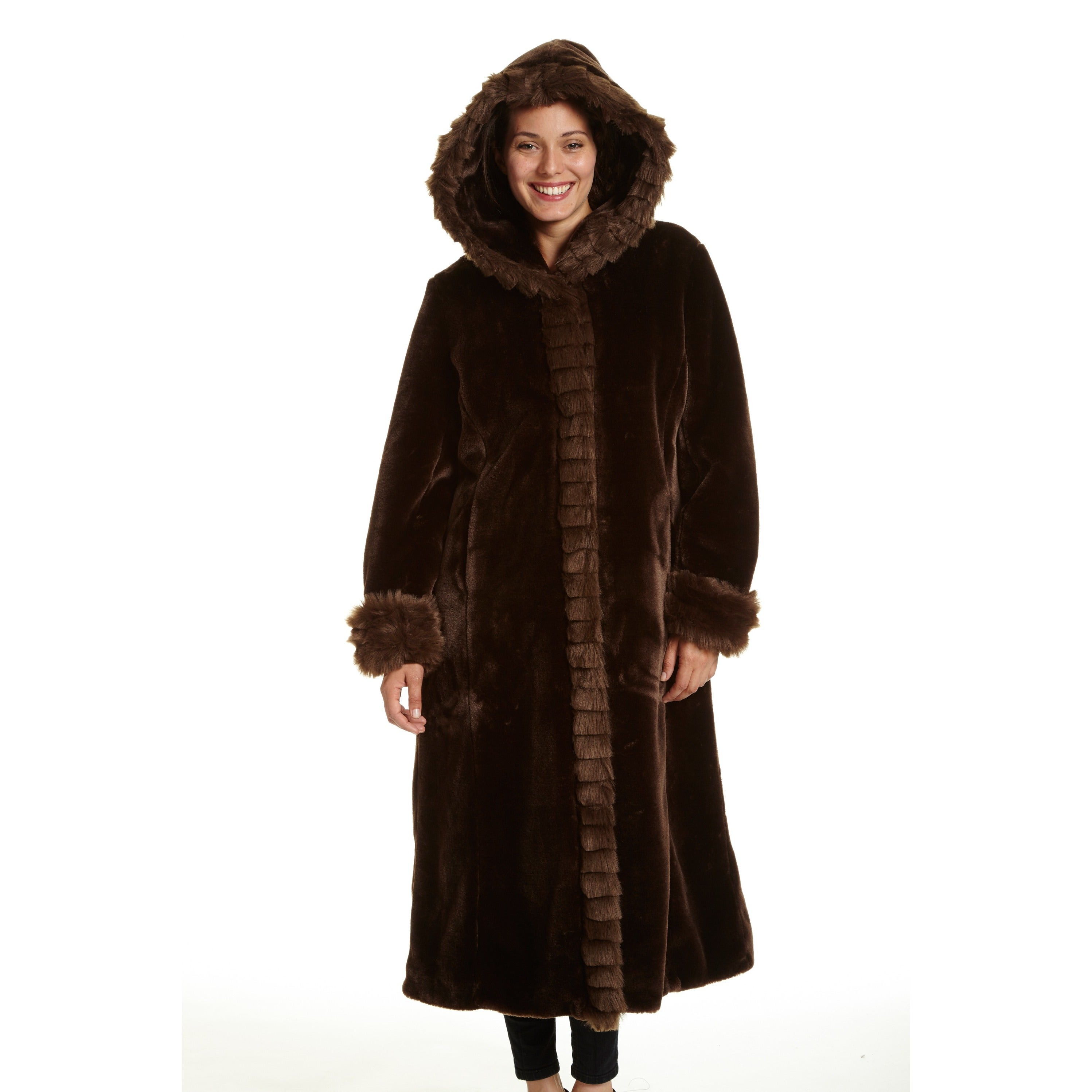 80e687b55 Excelled Women's Faux Fur Hooded Full Length Coat
