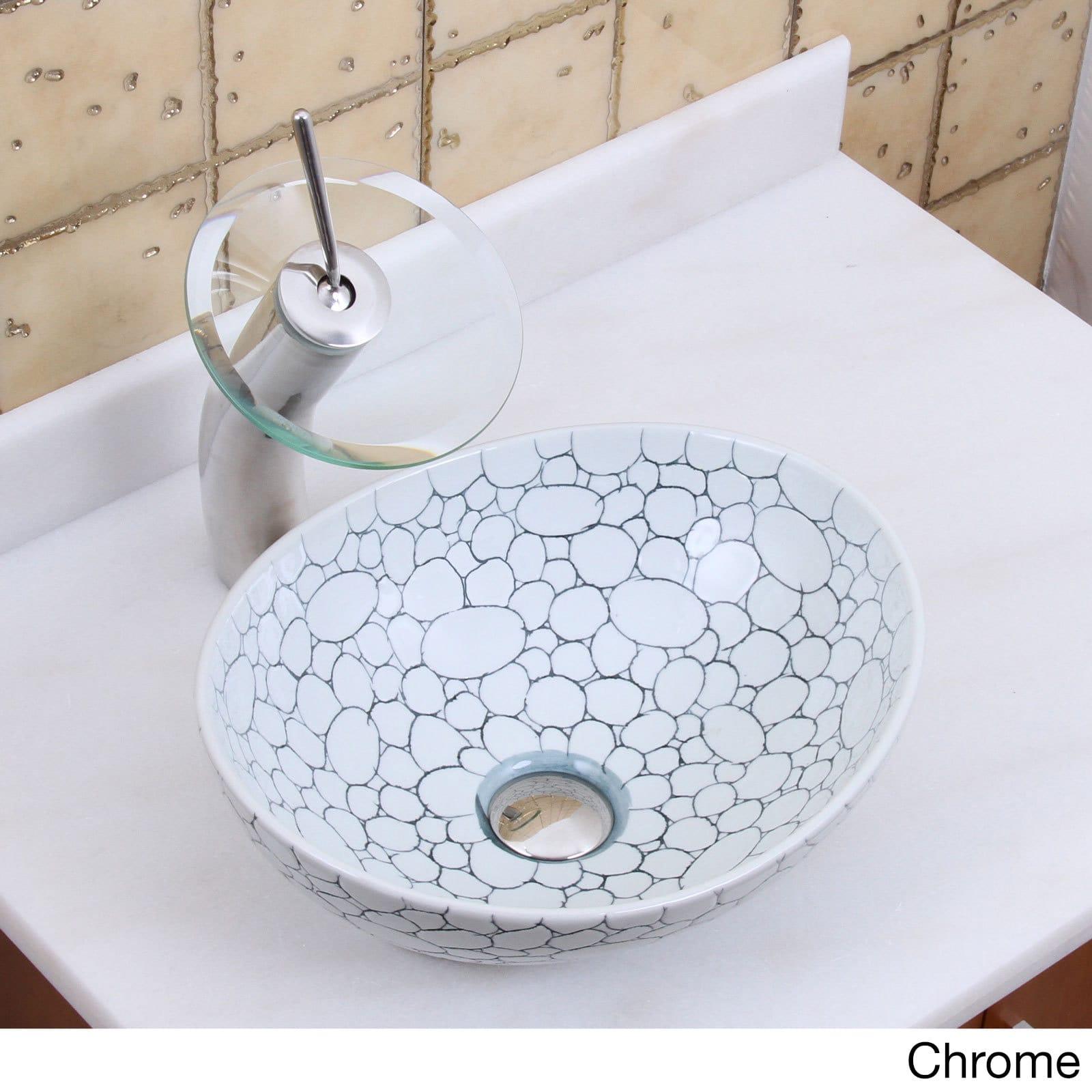 Elite 1558+F22T Oval Cobblestone Pattern Porcelain Ceramic Bathroom ...