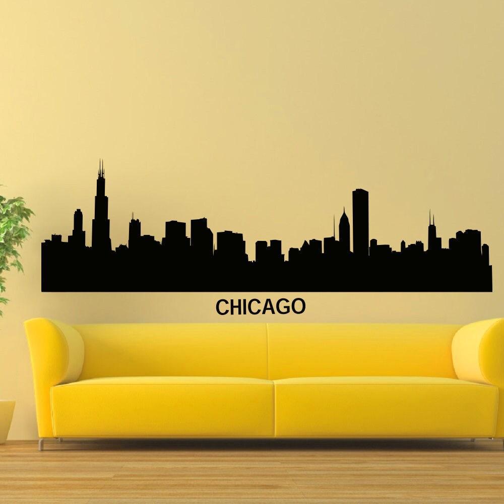 Chicago Skyline Silhouette Vinyl Wall Art Decal Sticker - Free ...