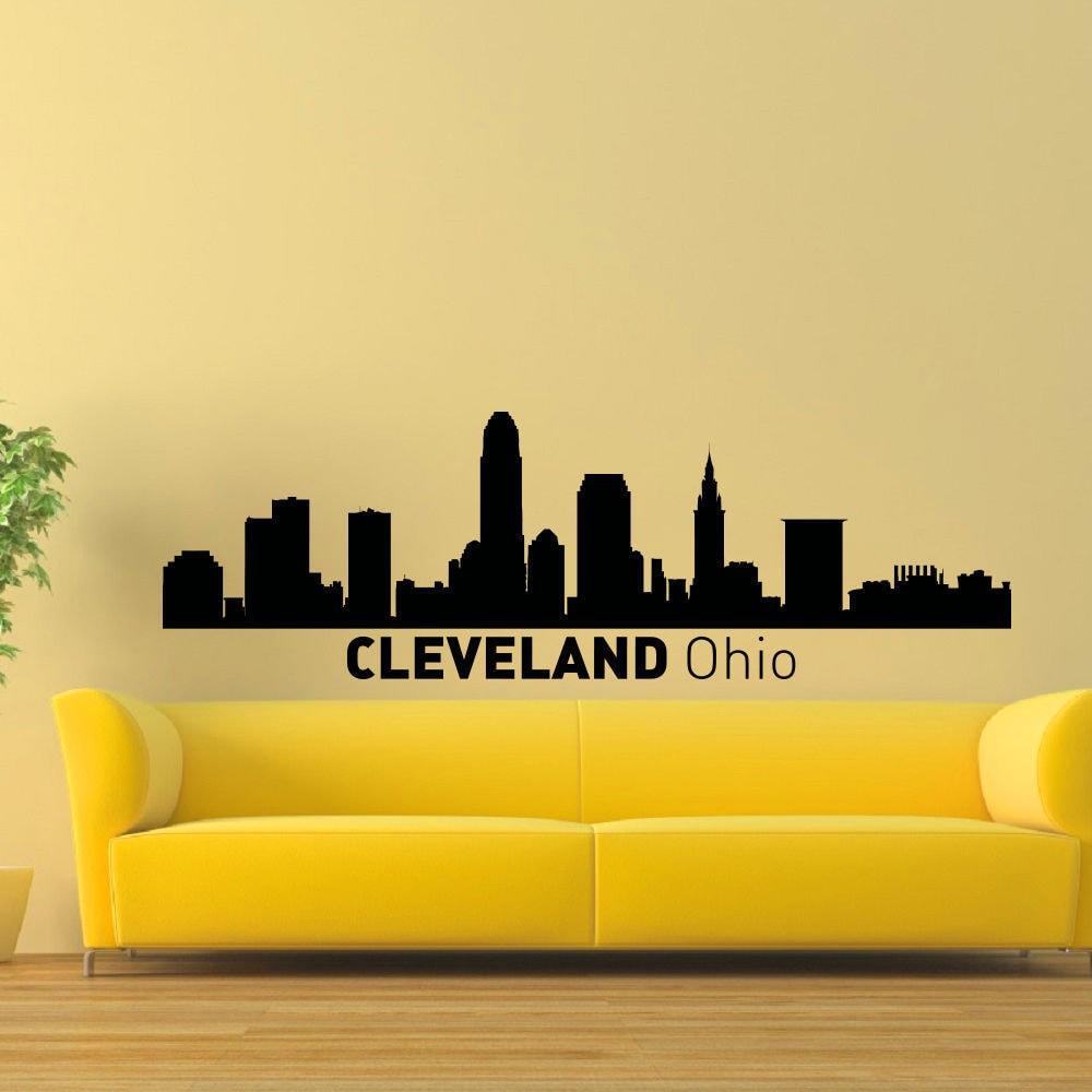 Shop Cleveland Ohio Skyline Vinyl Wall Art Decal Sticker - Free ...