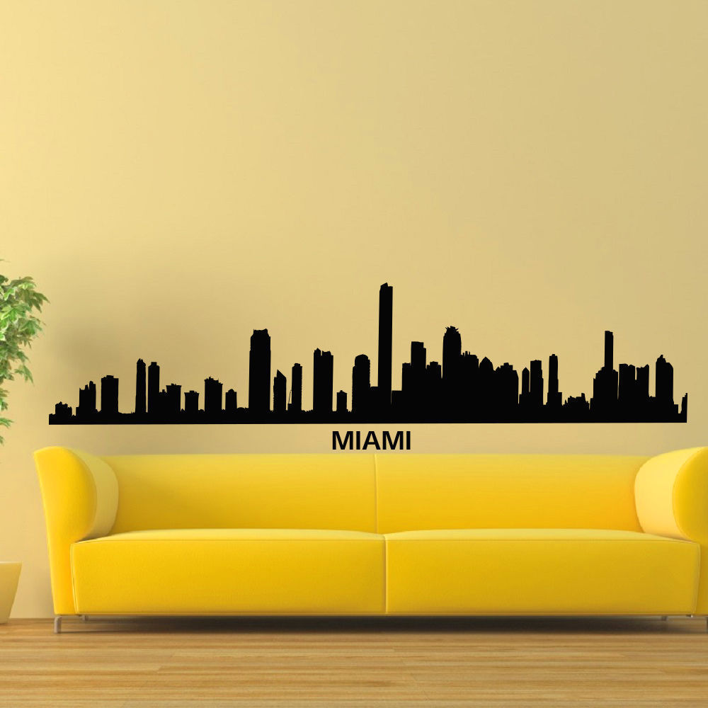 Miami Skyline City Silhouette Vinyl Wall Art Decal Sticker - Free ...