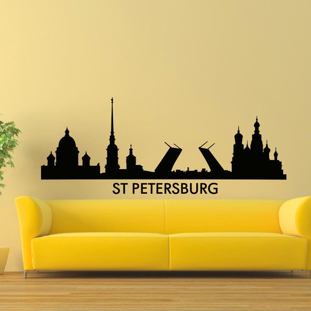 Shop St. Petersburg Skyline City Silhouette Vinyl Wall Art Decal ...