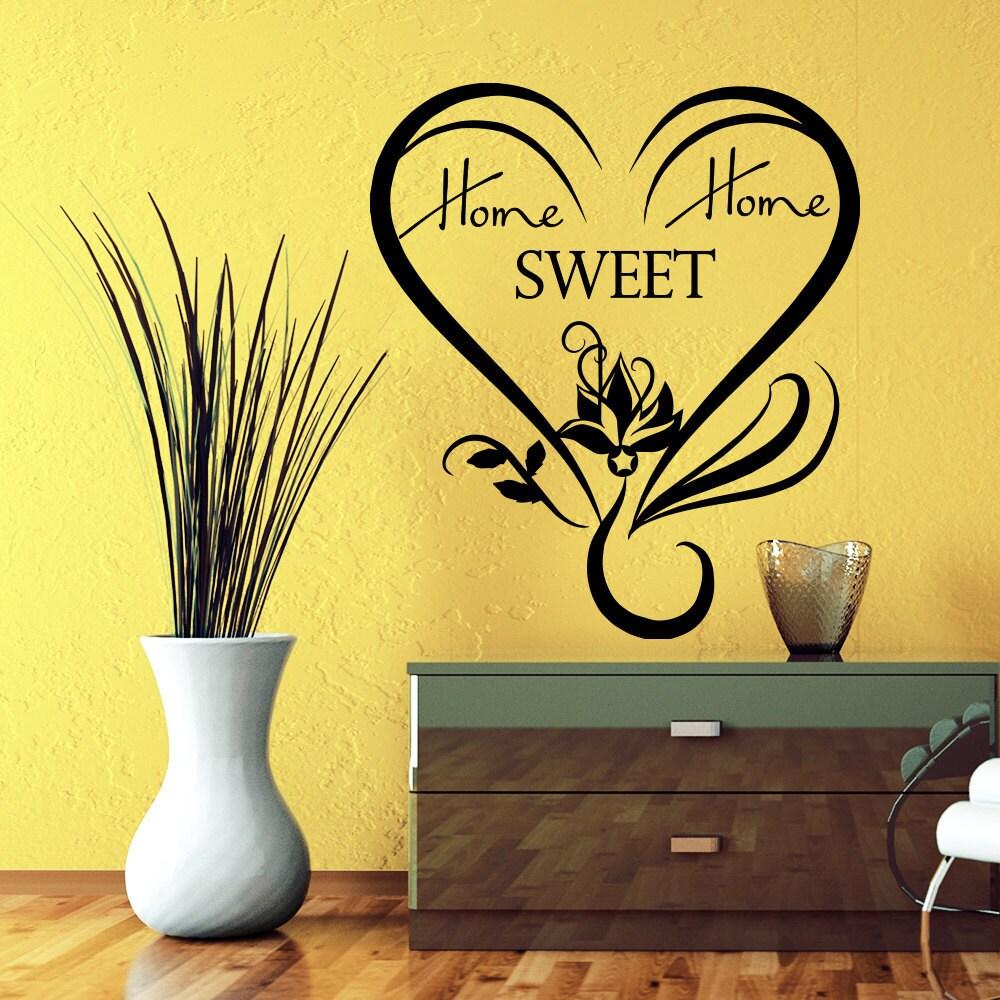 Shop Swirly Heart Home Sweet Home Quote Vinyl Sticker Wall Art ...