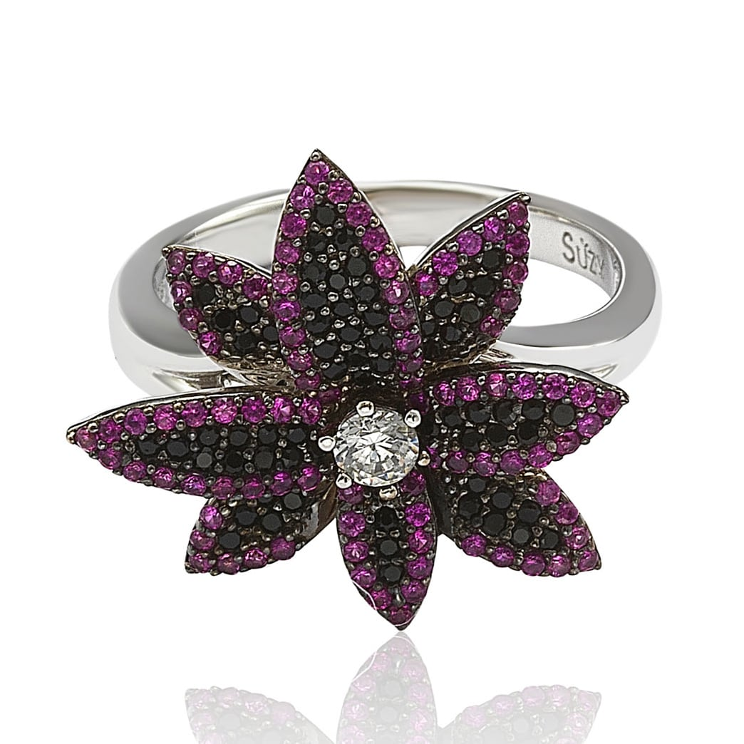 Shop Suzy Levian Sterling Silver Cubic Zirconia Black And Pink