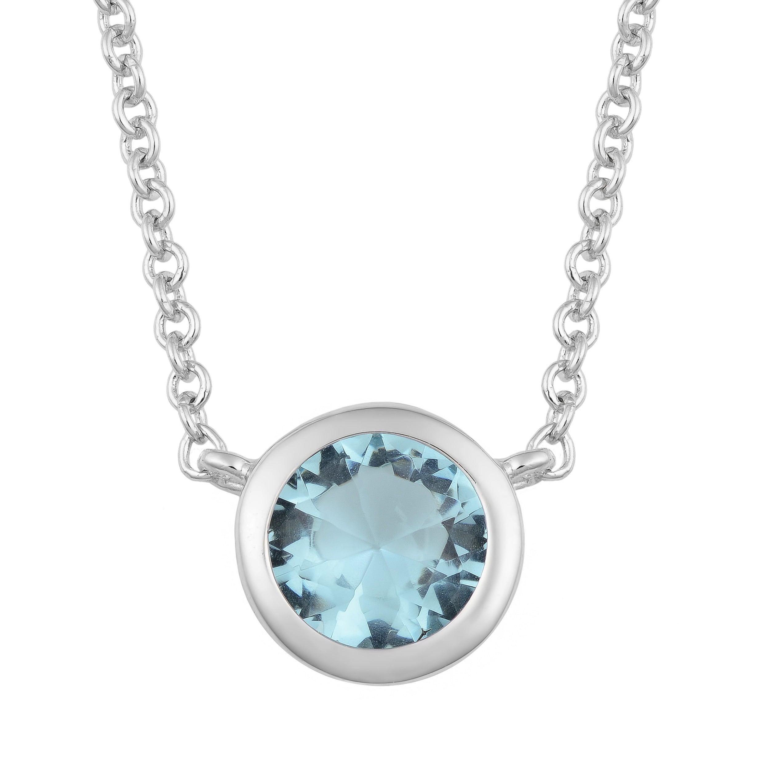 Fremada Rhodium Plated Sterling Silver Glass Solitaire Birthstone ...