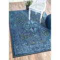 nuLOOM Traditional Vintage Inspired Overdyed Fancy Multi Rug (8' x 10') in Blue (As Is Item)