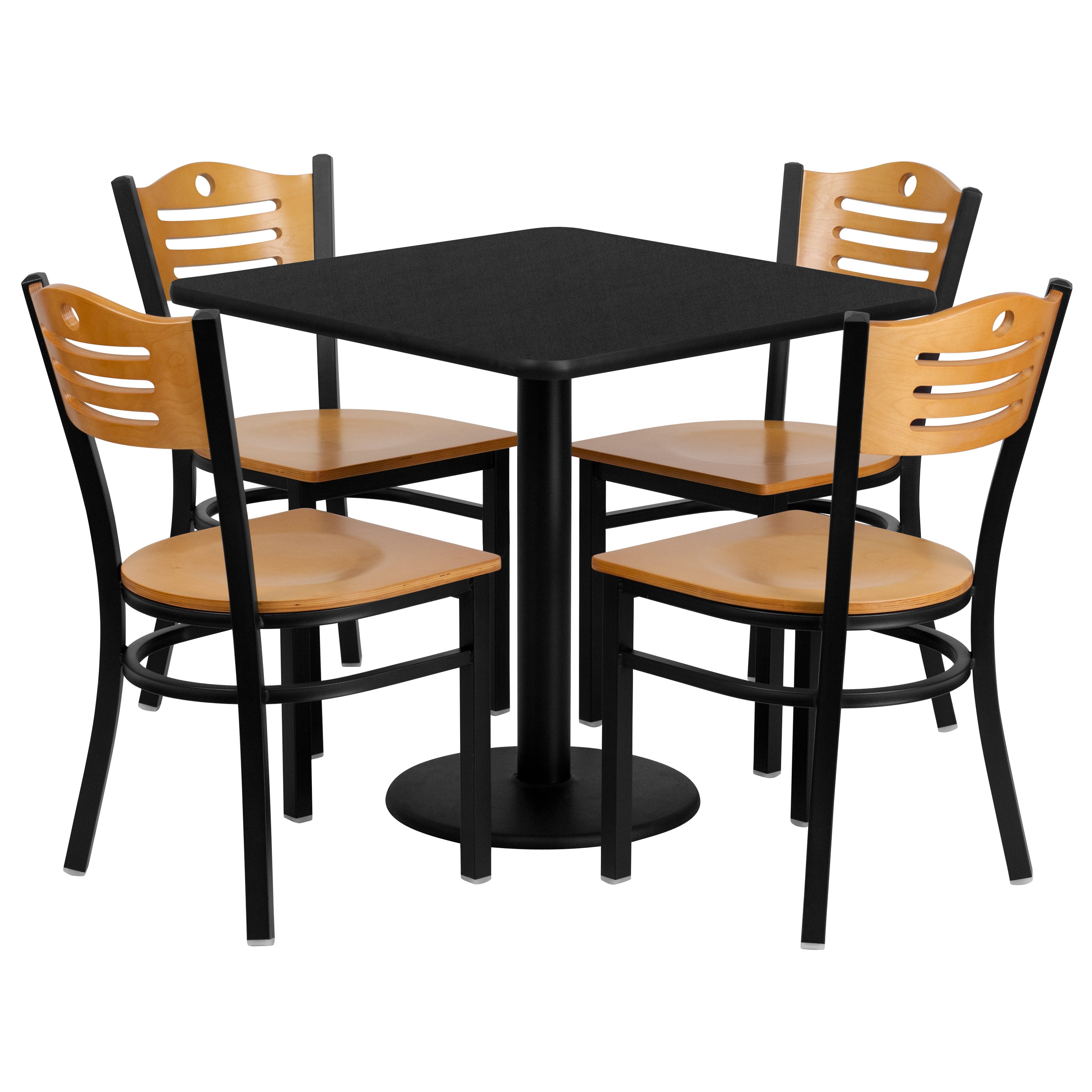 Shop 30-inch Square Black Laminate Table Set with Four (4) Natural