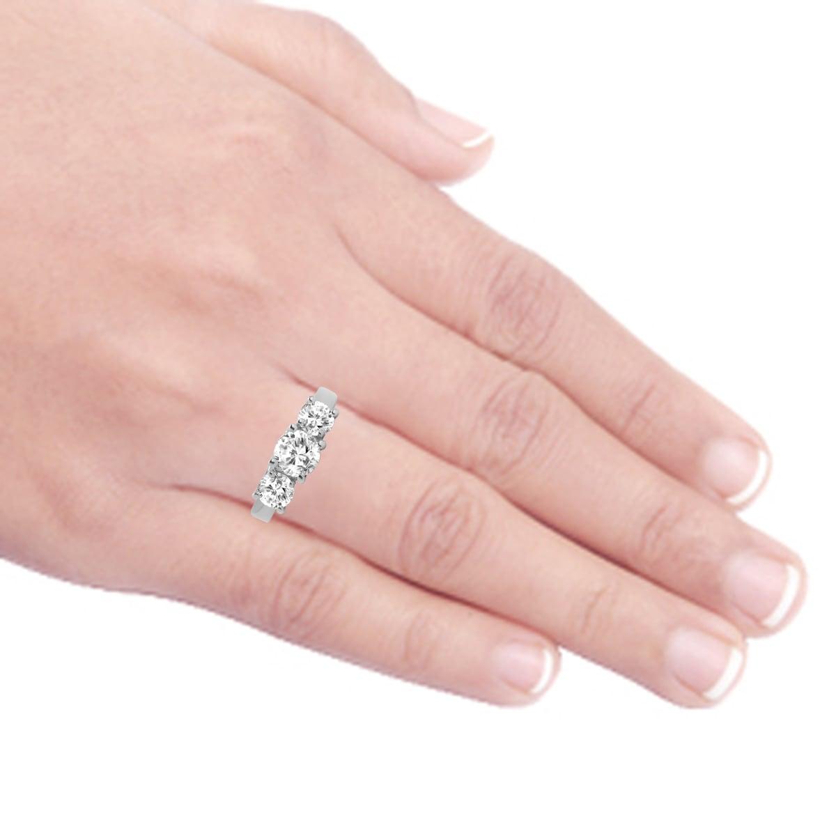 Shop Divina 14k White Gold 1ct TDW 3-stone Diamond Anniversary Ring ...