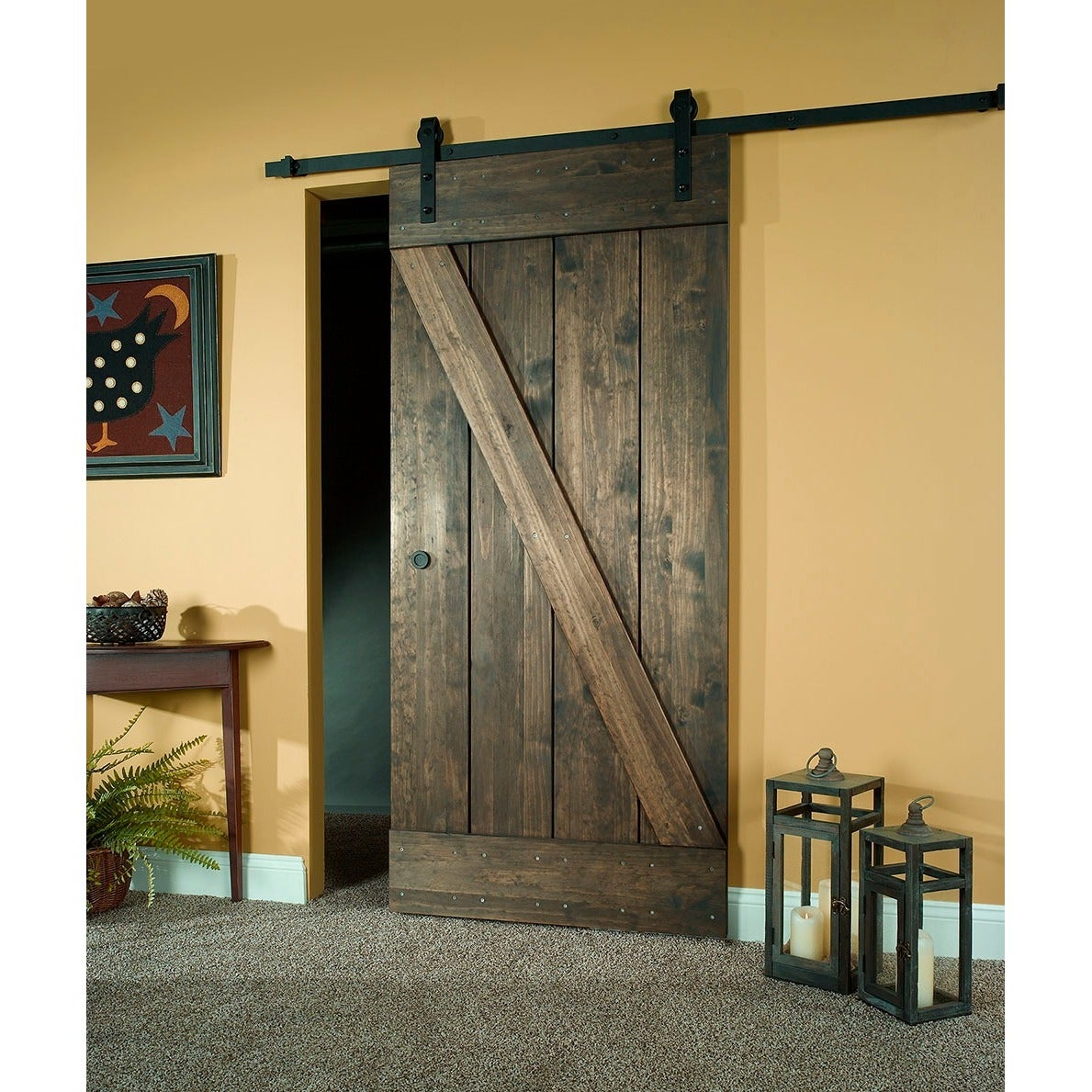 Shop Unfinished Pine Z Design Wood Barn Door Kit (32x80)   Free Shipping  Today   Overstock.com   10429077